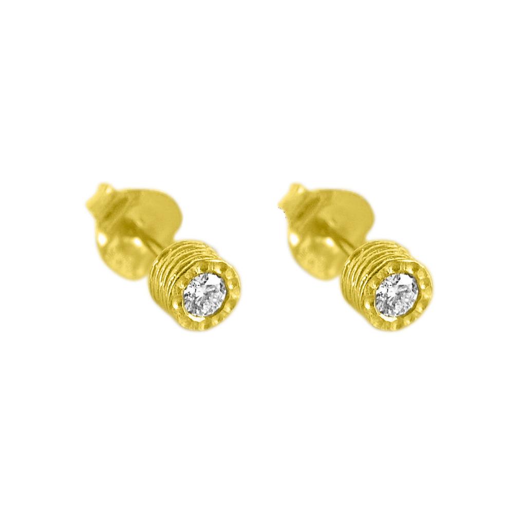14K Gold 0.20 Ct. Natural Diamonds Round Stud Earrings Handmade Fine Jewelry
