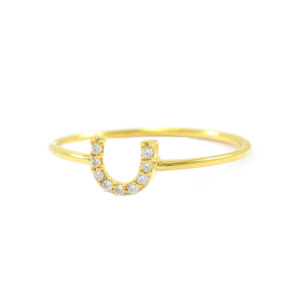 14K Gold 0.10 Ct. Natural Diamond Horseshoe Ring Fine Jewelry Size - 3 to 9 US