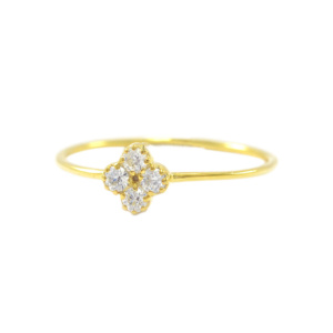 14K Gold 0.05 Ct. Natural Diamond Flower Design Ring Fine Jewelry Size-3 to 9 US