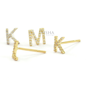 14K Gold 0.20 Ct. Genuine Diamond A-Z Alphabet Initial Personalized Stud Earring