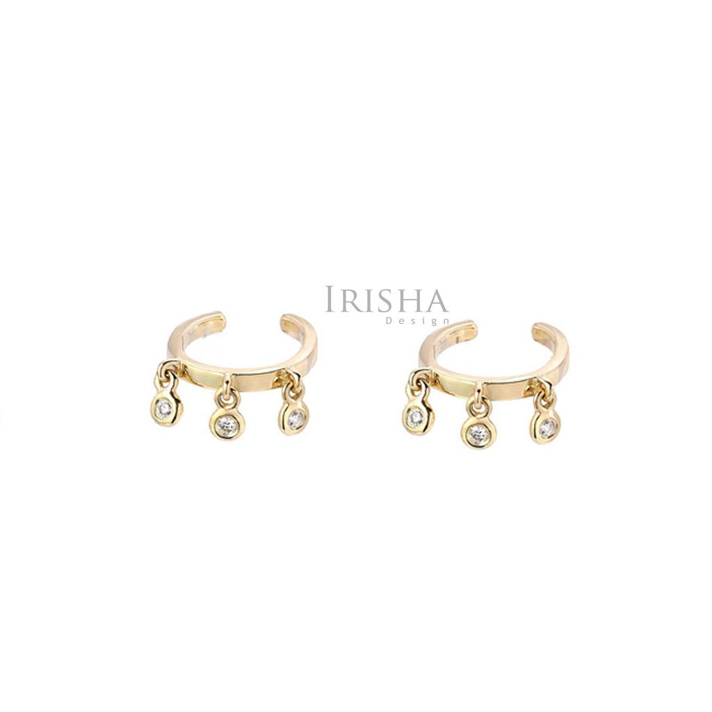 14K Gold 0.18 Ct. Genuine Diamond Cuff Earrings Handmade Fine Jewelry
