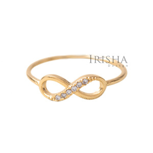 14K Gold 0.04 Ct. Genuine Diamond Love Infinity Knot Ring Size - 3,4,5,6,7,8,9US