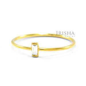 14K Gold 0.05 Ct. Genuine Baguette Diamond Ring Fine Jewelry