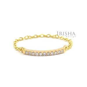 14K Gold 0.10 Ct. Genuine Diamond Bar Chain Ring Fine Jewelry Size - 3 to 9 US