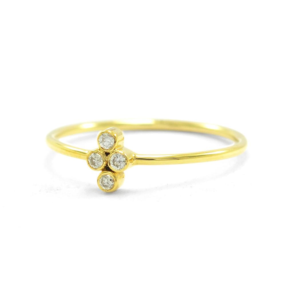 14K Gold 0.10 Ct. Natural Diamond Flower Design Ring Christmas Fine Jewelry