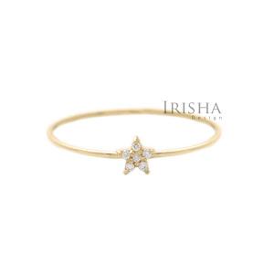 14K Gold 0.06 Ct. Genuine Diamond Star Ring Christmas Jewelry Size -3 to 9 US