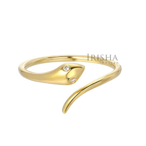 14K Gold 0.02 Ct. Genuine Diamond Snake Cuff Ring Fine Jewelry Size - 3 to 9 US