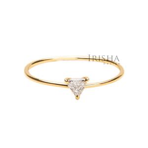 18K Gold 0.07 Ct. Genuine Rose Cut Trillion Diamond Ring Wedding Fine Jewelry