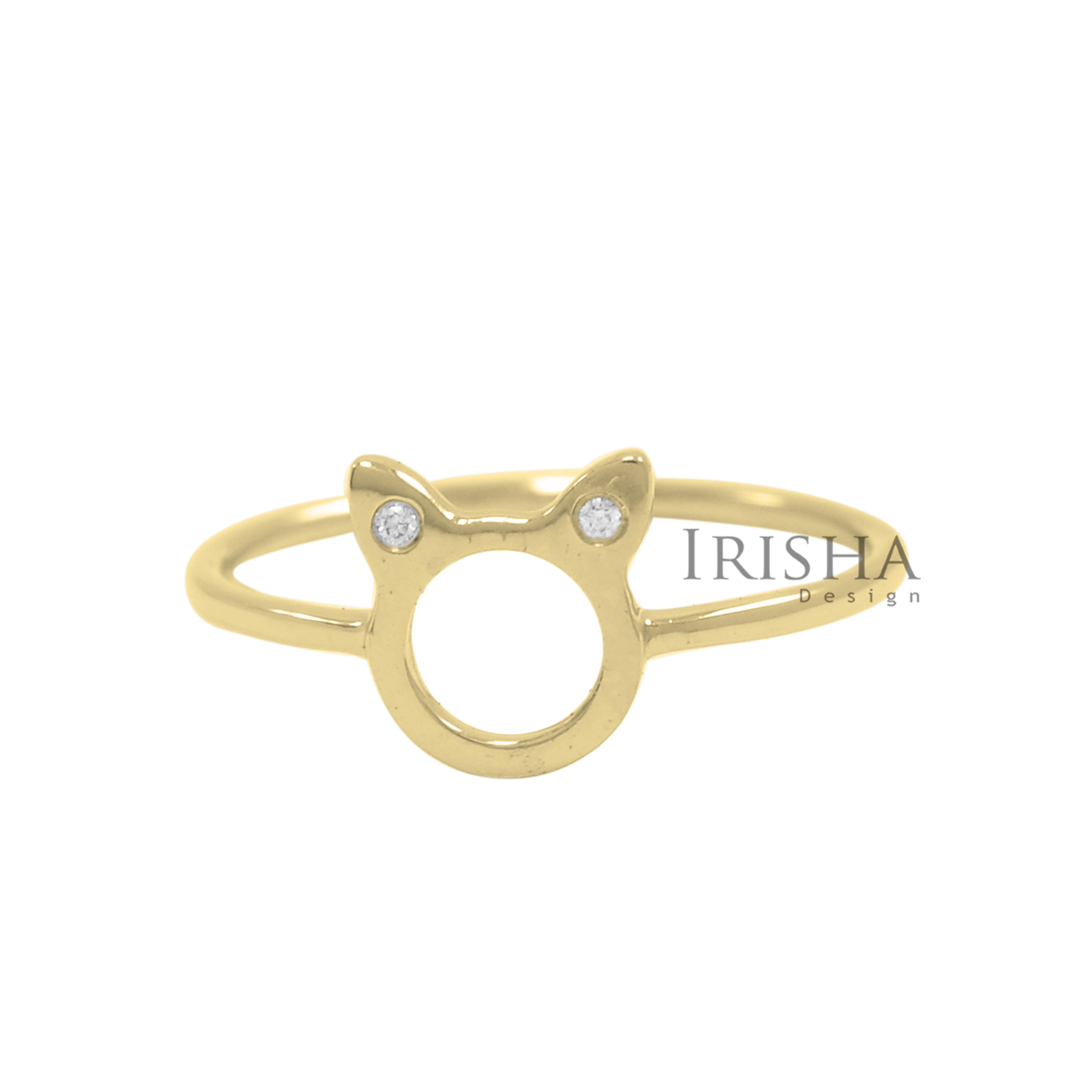 14K Gold 0.02 Ct. Genuine Diamond Cat Ring Handmade Fine Jewelry Size- 3 to 9 US