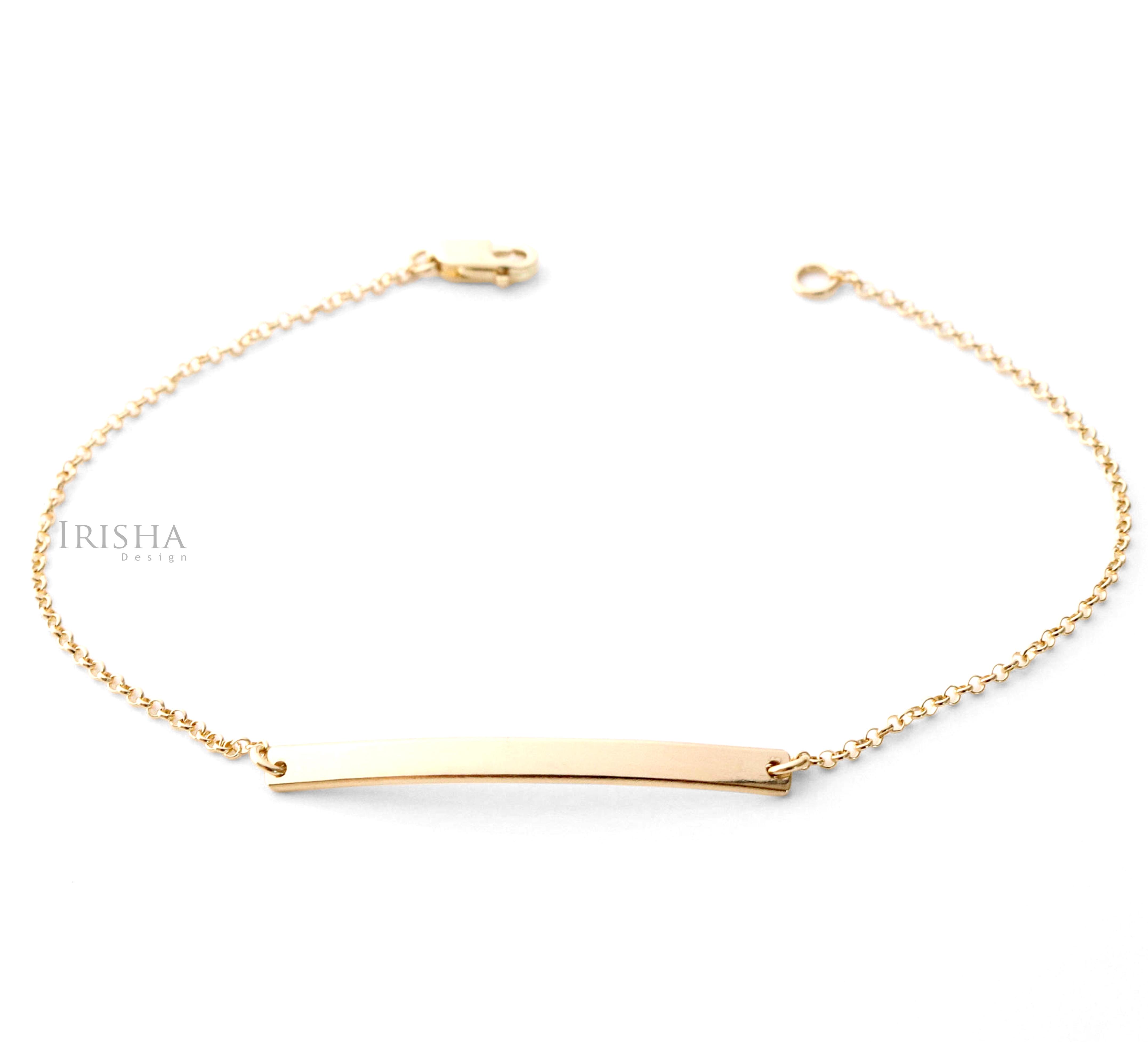 14K Solid Plain Gold Dainty Personalized Engraving Bar Bracelet Fine Jewelry
