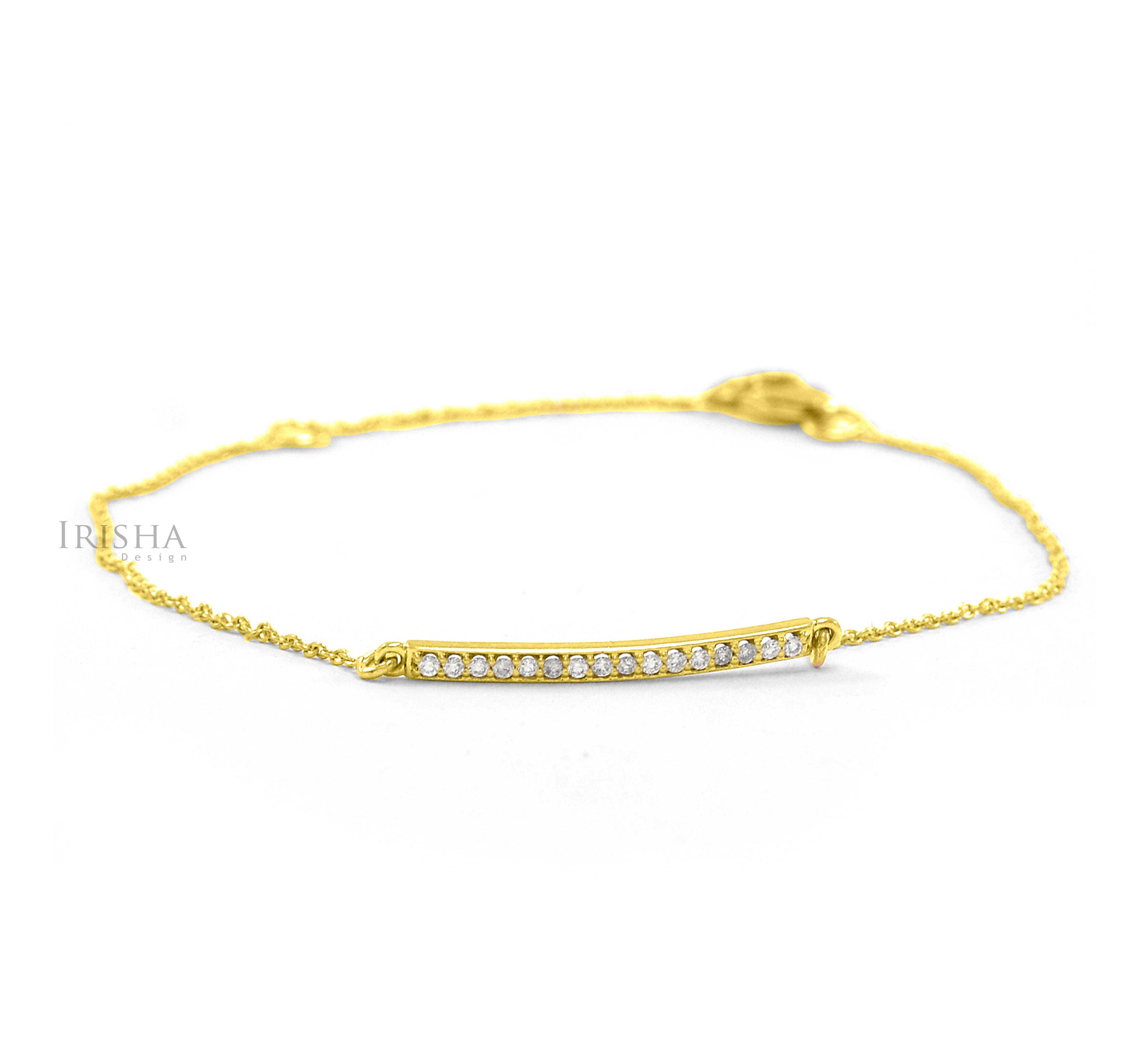 14K Gold 0.16 Ct. Genuine Dainty Diamond Bar Bracelet Fine Jewelry