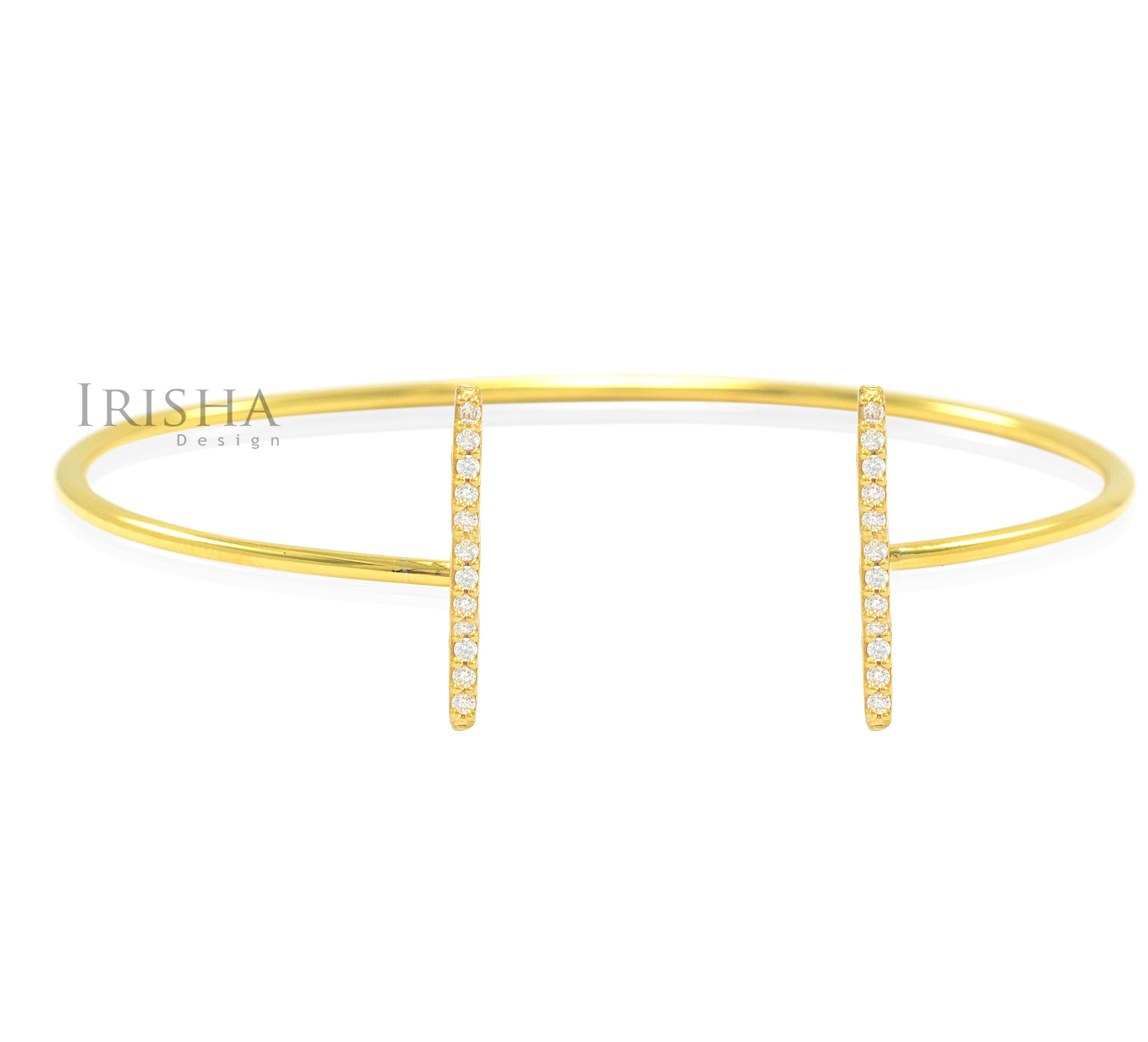 14K Gold 0.12 Ct. Genuine Diamond Open Bar Cuff Bangle Bracelet Fine Jewelry