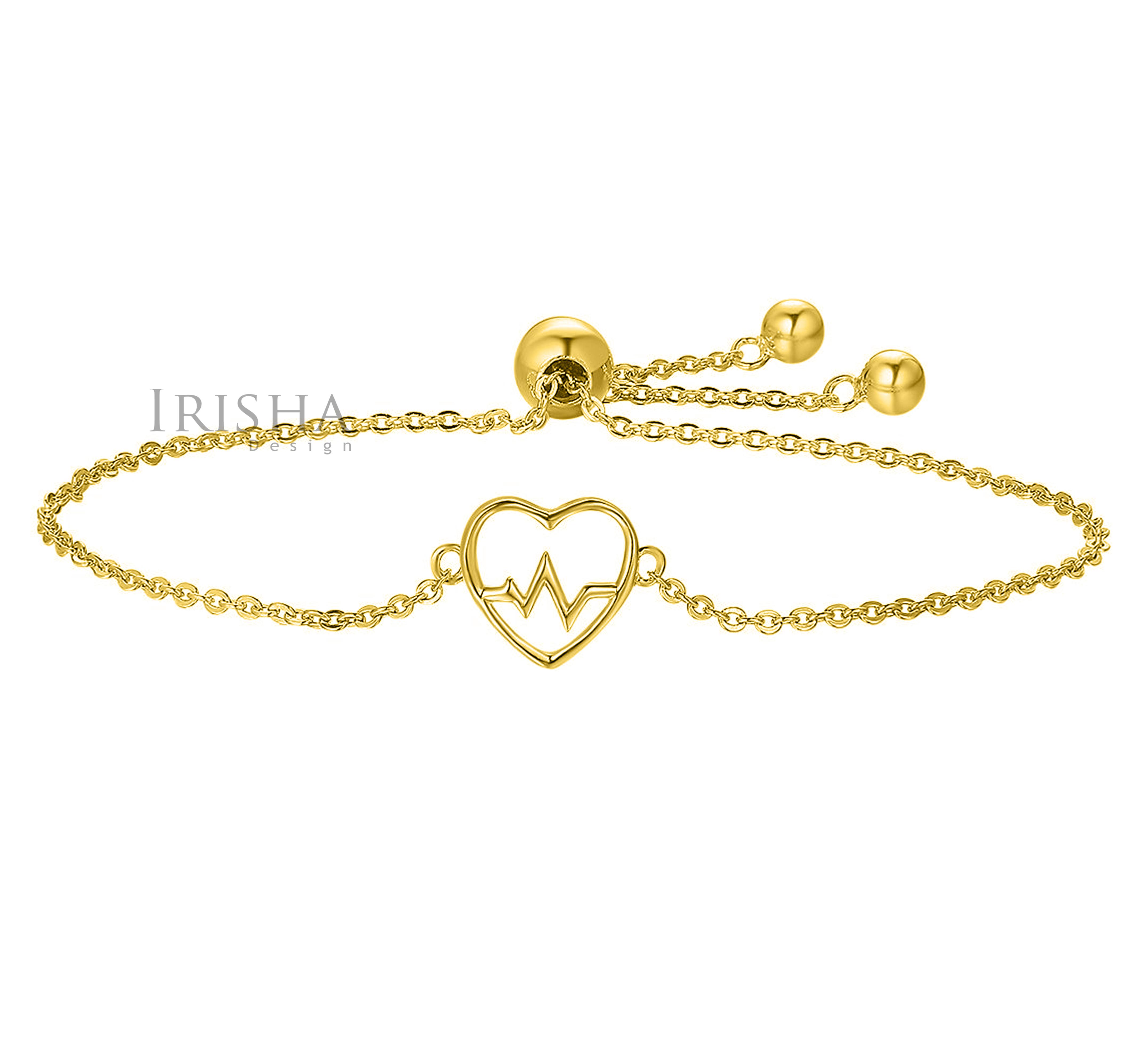 14K Solid Plain Gold Love Heartbeat Chain Bracelet Mother's Day Fine Jewelry