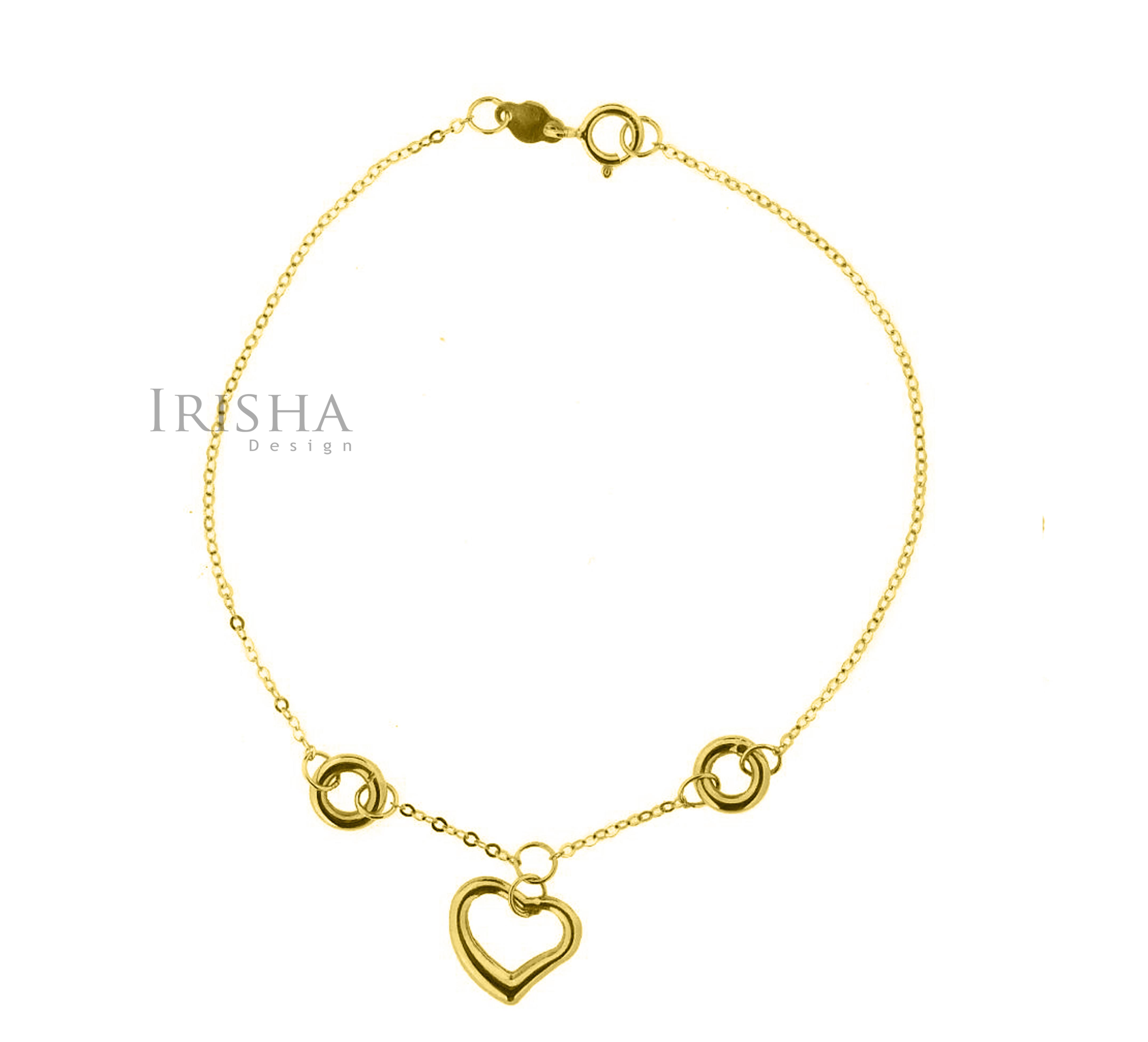 14K Solid Plain Gold Love Heart Chain Handmade Mother's Day Bracelet For MOM