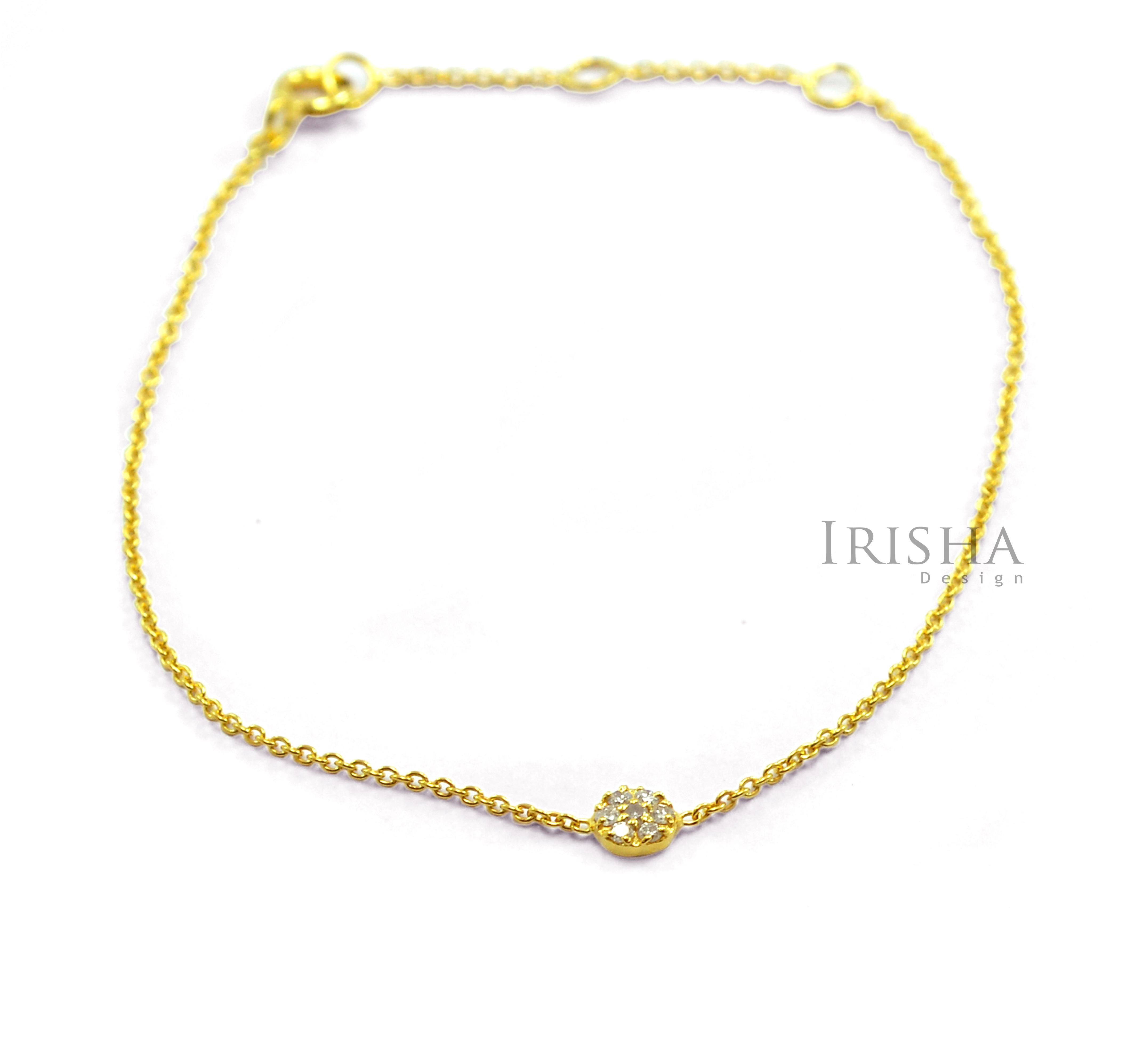 14K Gold 0.22 Ct. Genuine Diamond Disc Charm Chain Bracelet Fine Jewelry