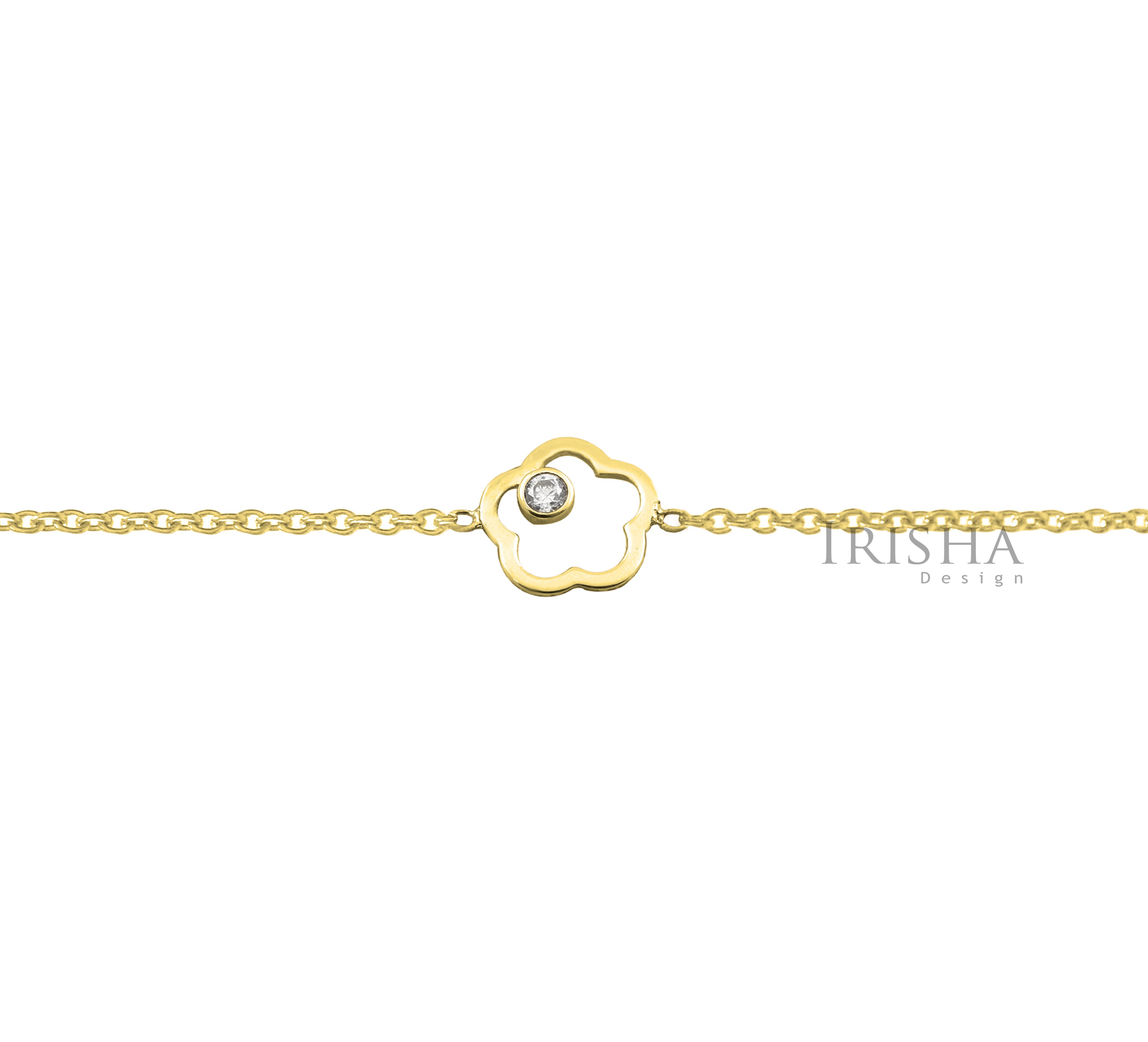 14K Gold 0.03 Ct. Genuine Diamond Flower Chain Bracelet Handmade Fine Jewelry
