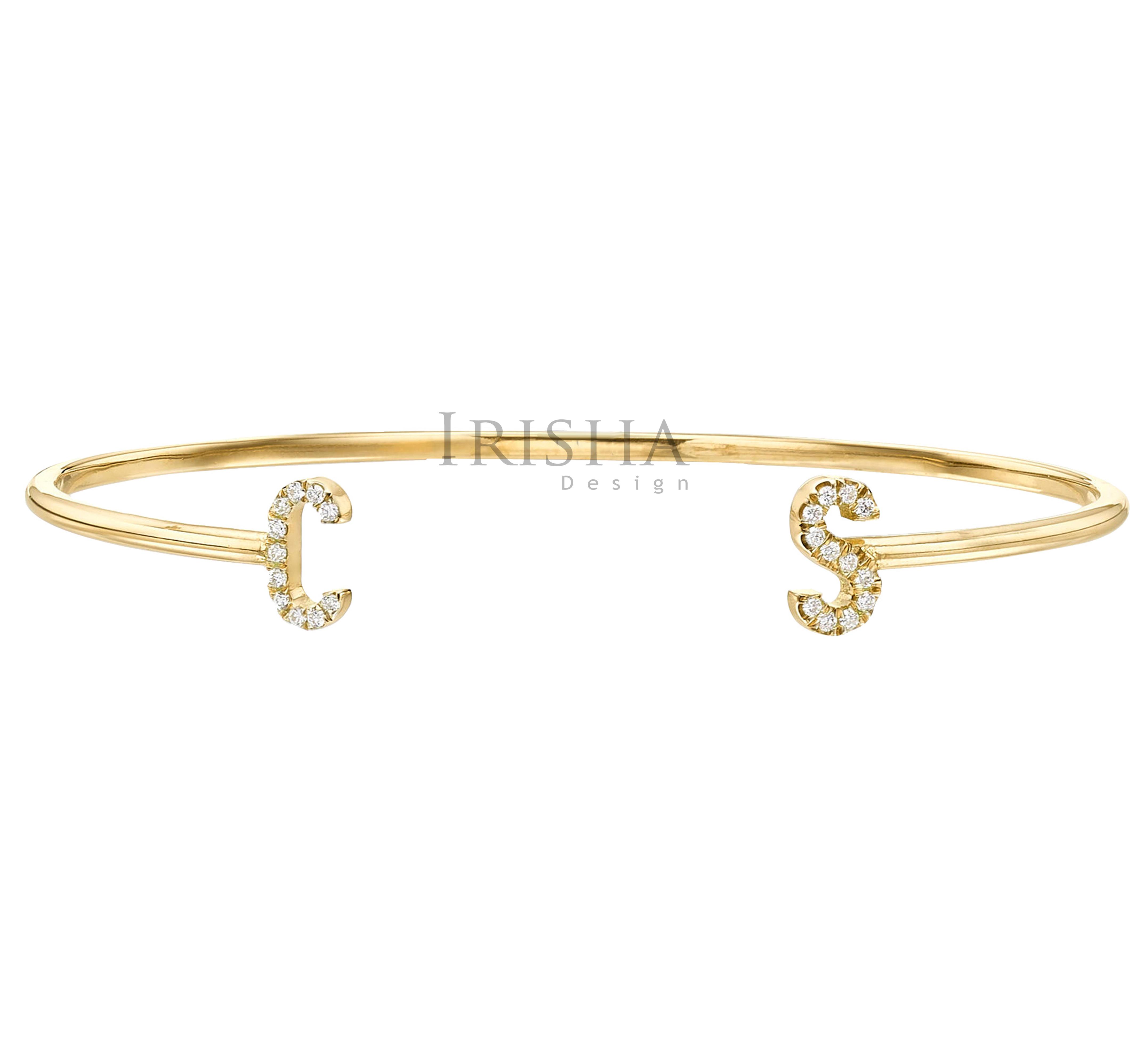 14K Gold 0.12 Ct. Genuine Diamond Initial C-S Alphabet Cuff Bangle Bracelet