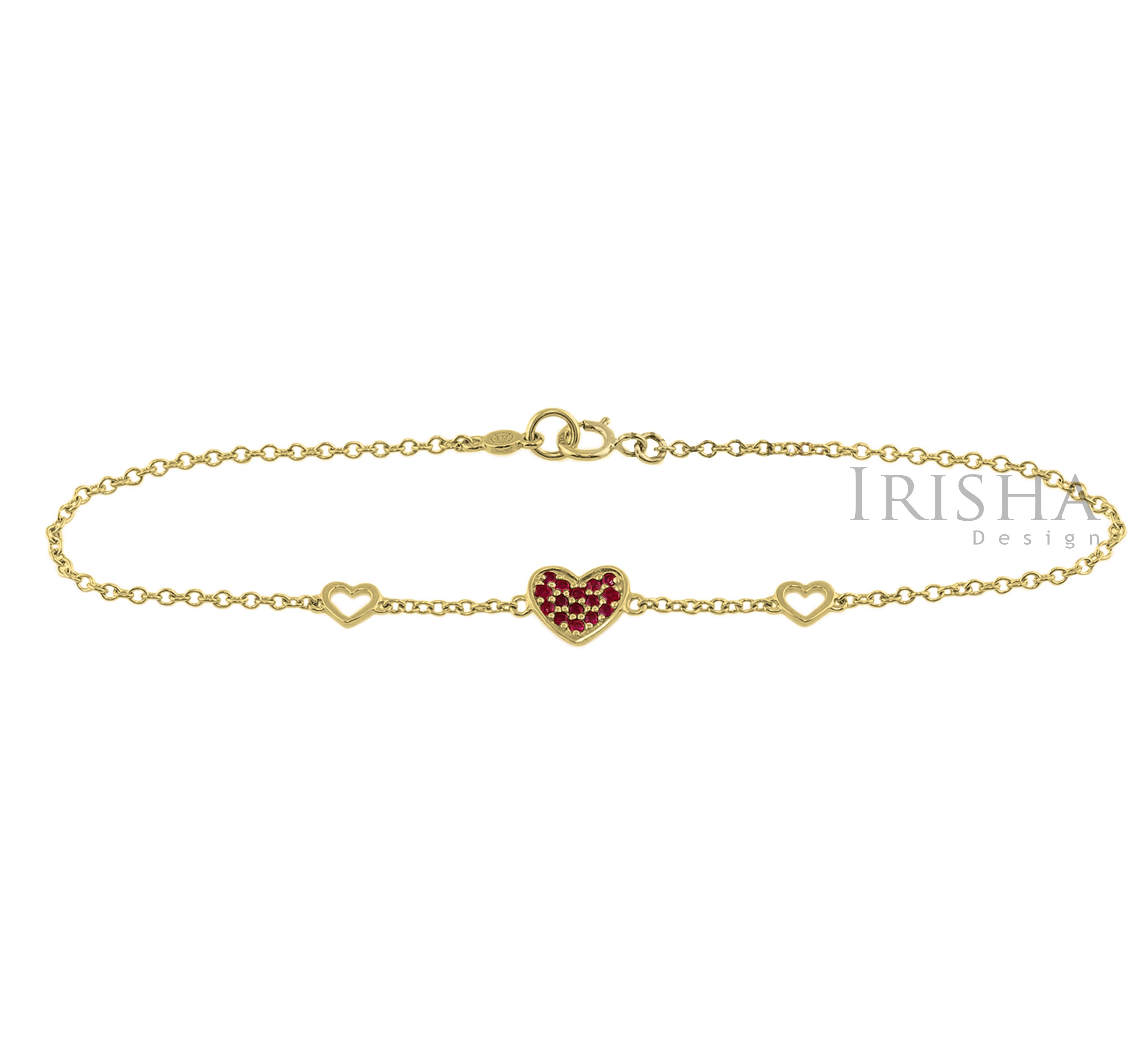 14K Gold 0.20 Ct. Genuine Ruby Gemstone Heart Bracelet Mother's Day Fine Jewelry