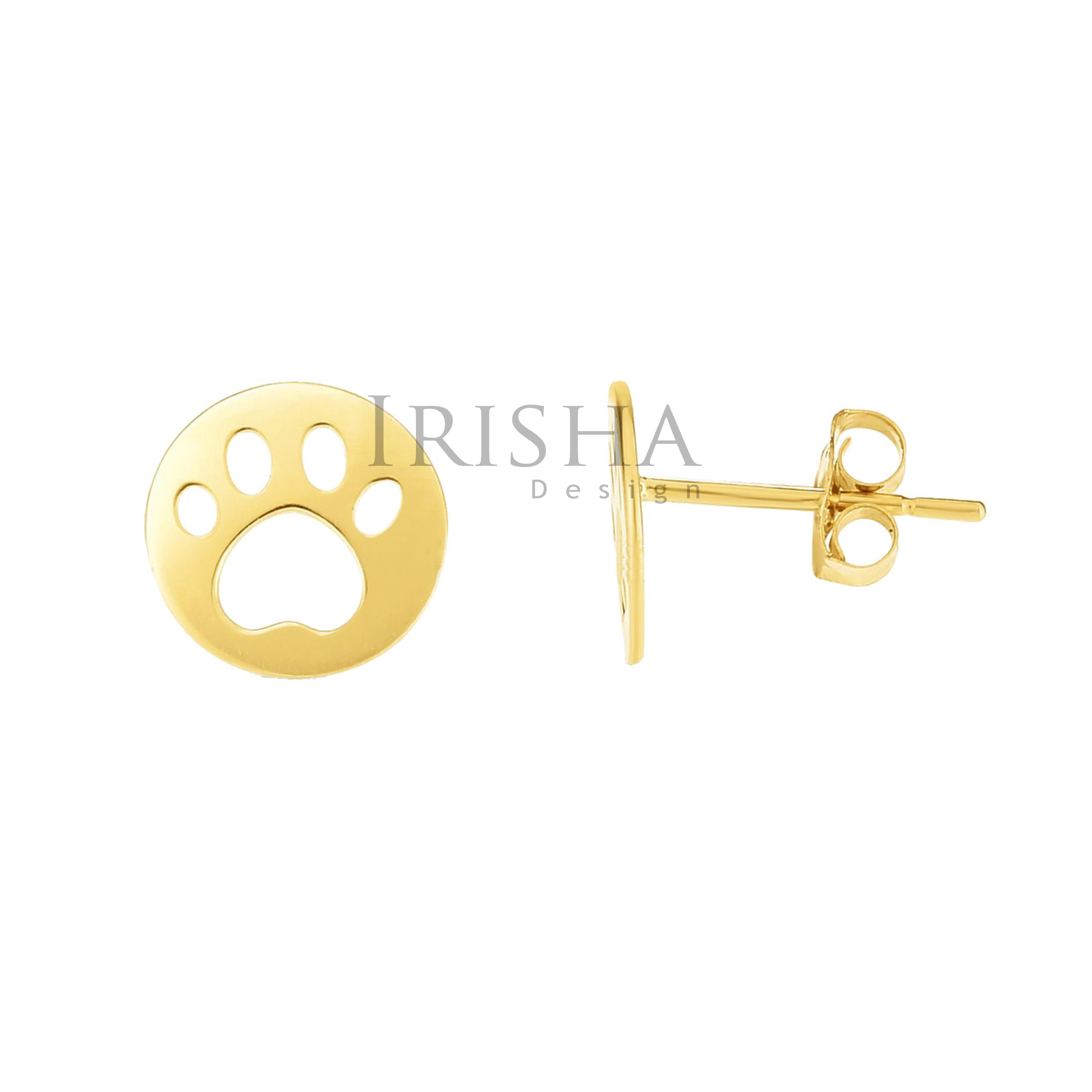 14K Solid Plain Gold 8 mm Paw Print (I Love My Pet) Earrings Fine Jewelry