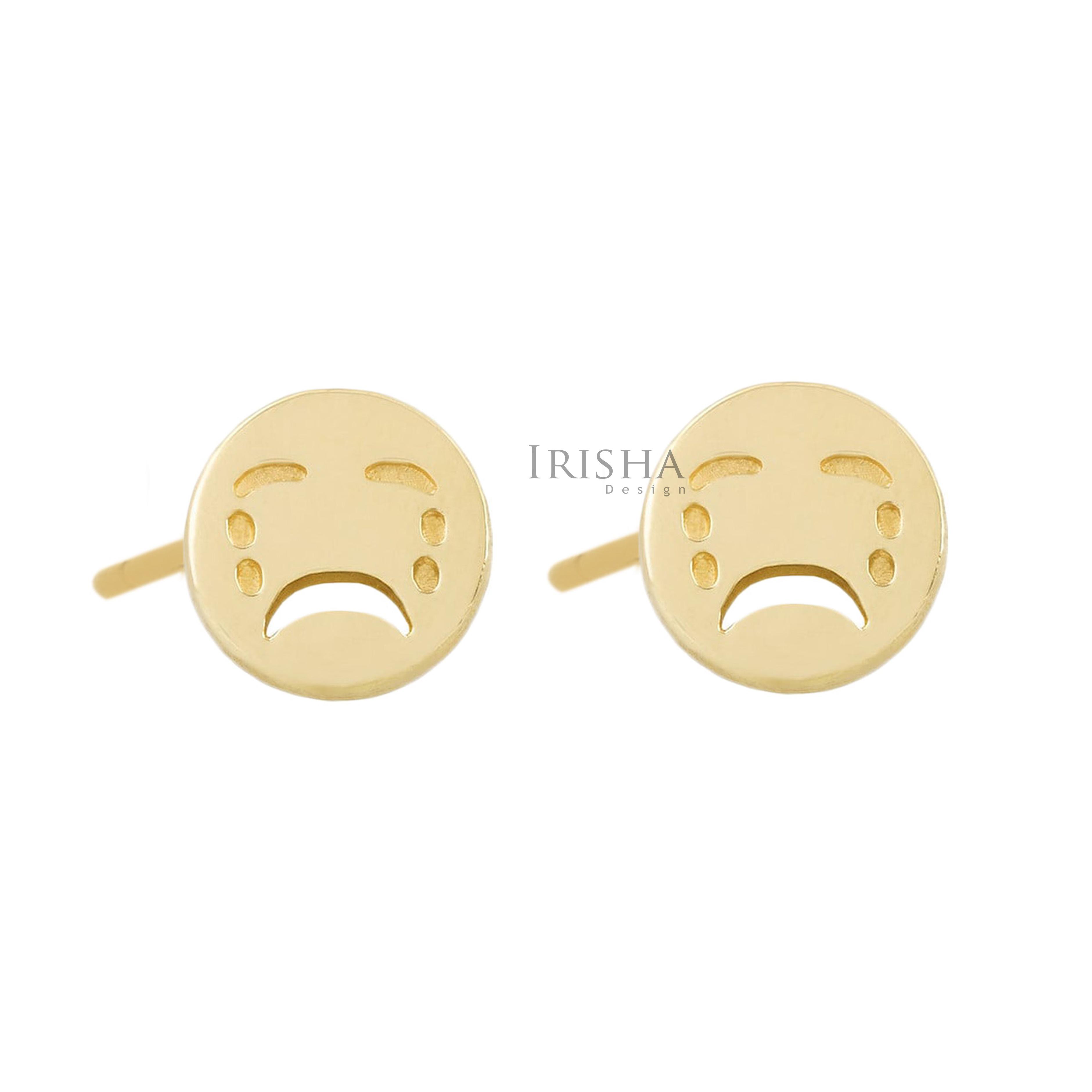 14K Solid Plain Gold 8 mm Wailing Face Emoji Earrings Handmade Fine Jewelry