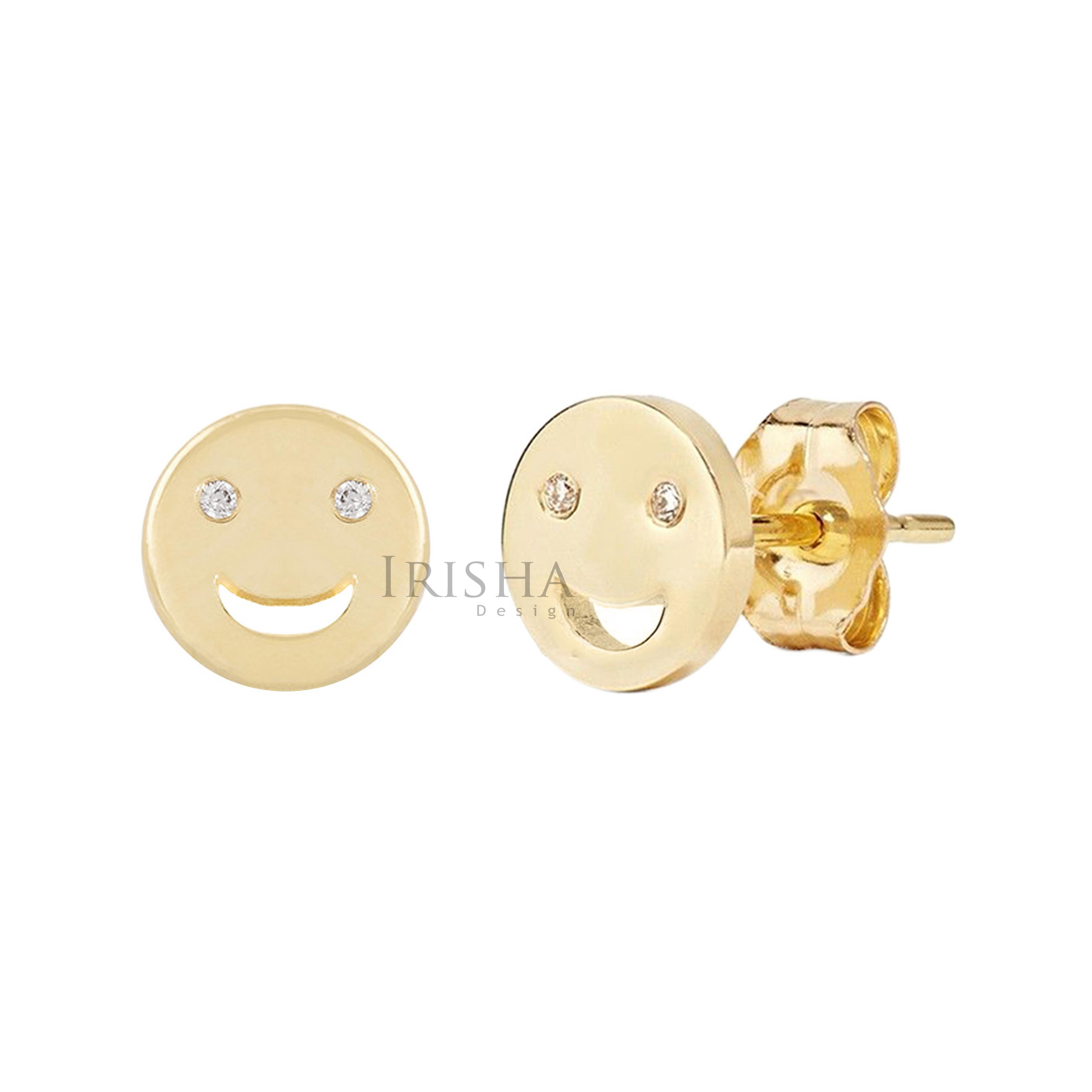14K Gold 0.04 Ct. Genuine Diamond 8 mm Smiley Earrings Fine Jewelry