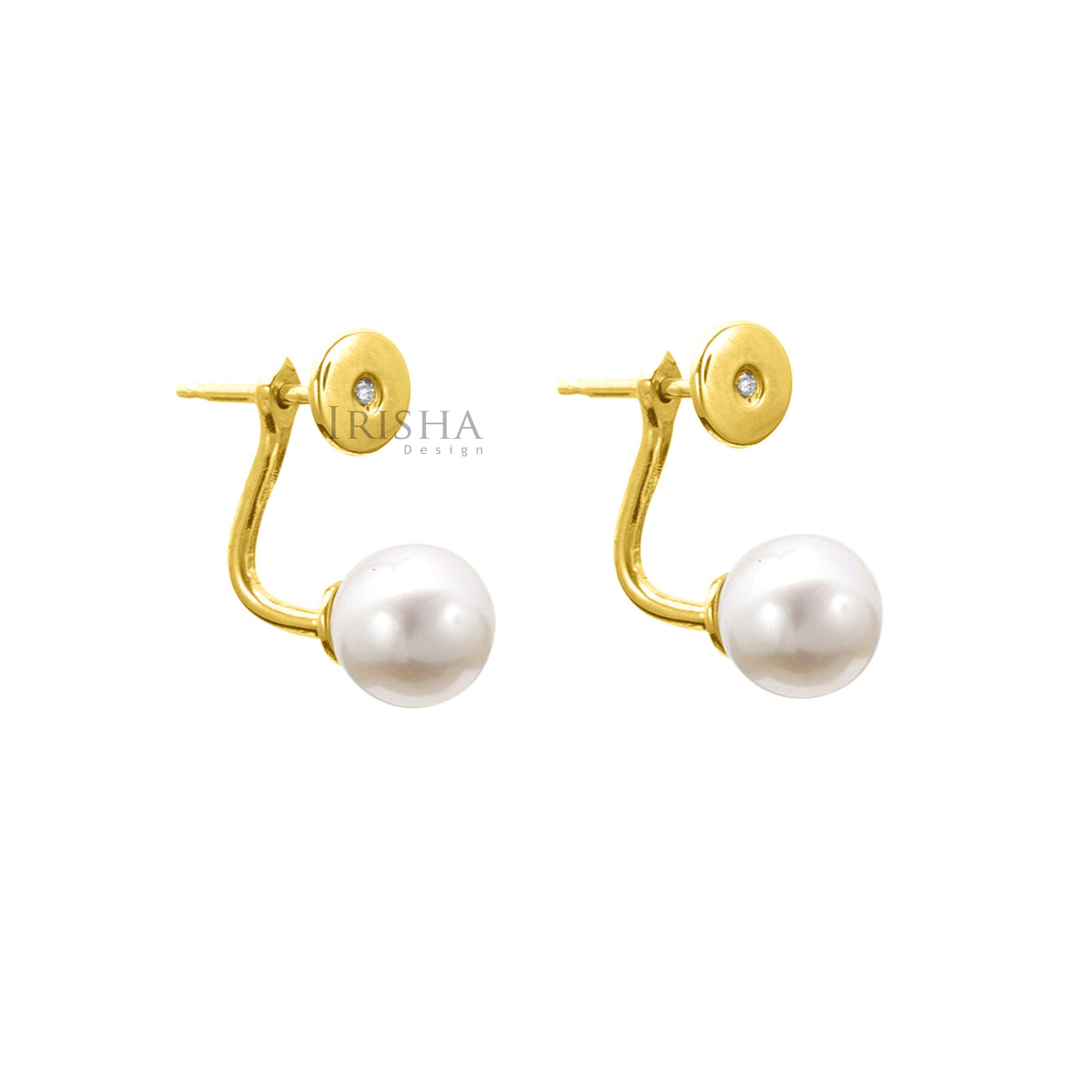14K Gold Genuine Diamond And 6 mm Freshwater Pearl Jacket Earrings Fine Jewelry