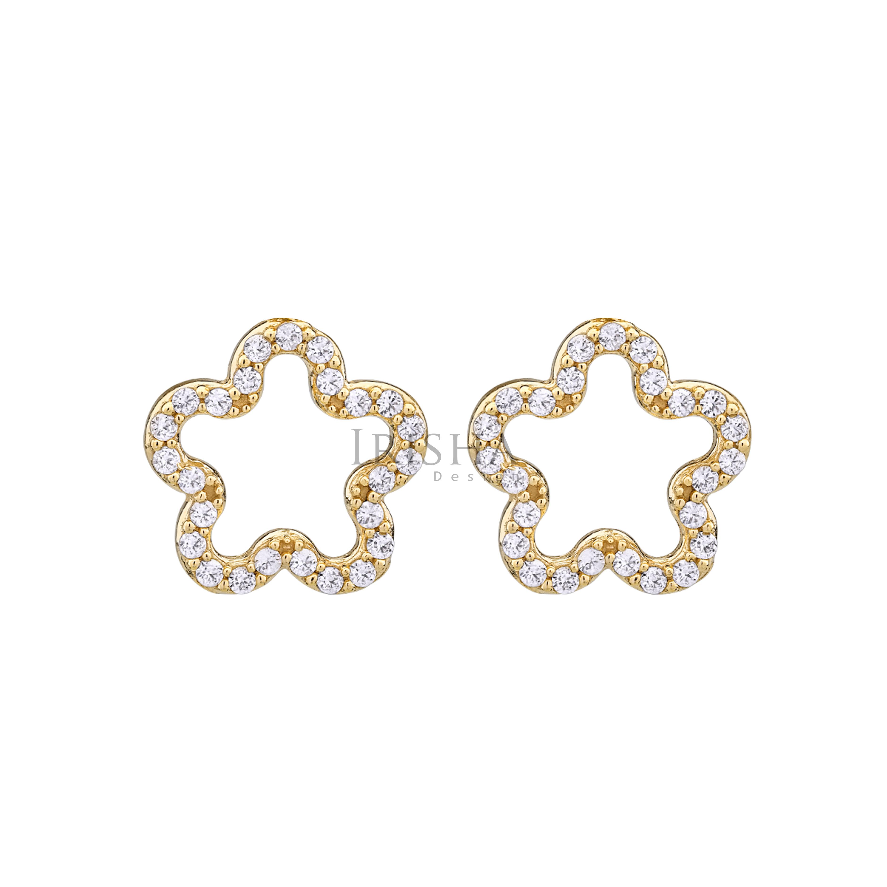 14K Gold 0.20 Ct. Genuine Diamond Flower Shape Studs Earrings Fine Jewelry