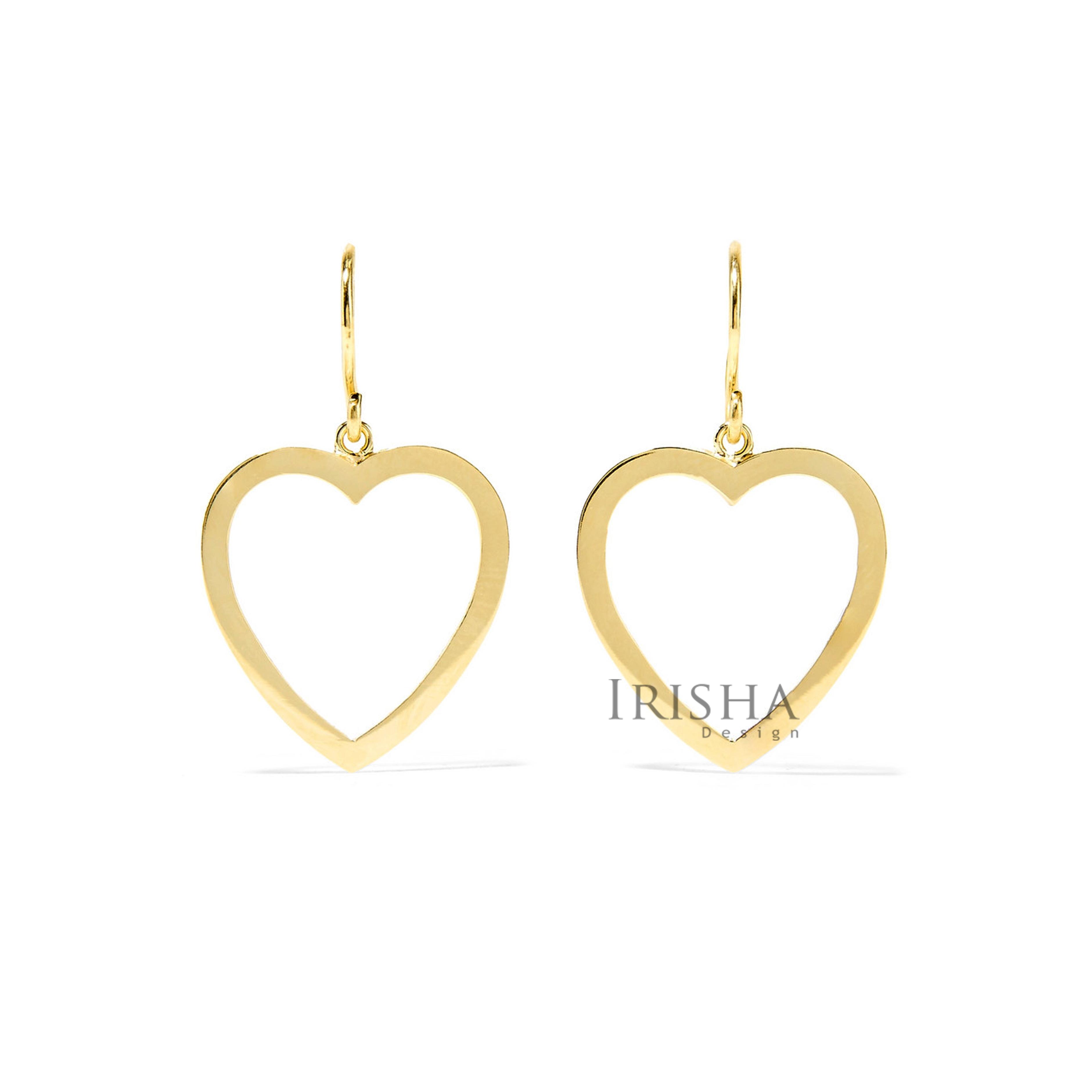 14K Solid Gold Long Love Heart Dangle Earrings Mother's Day Fine Jewelry