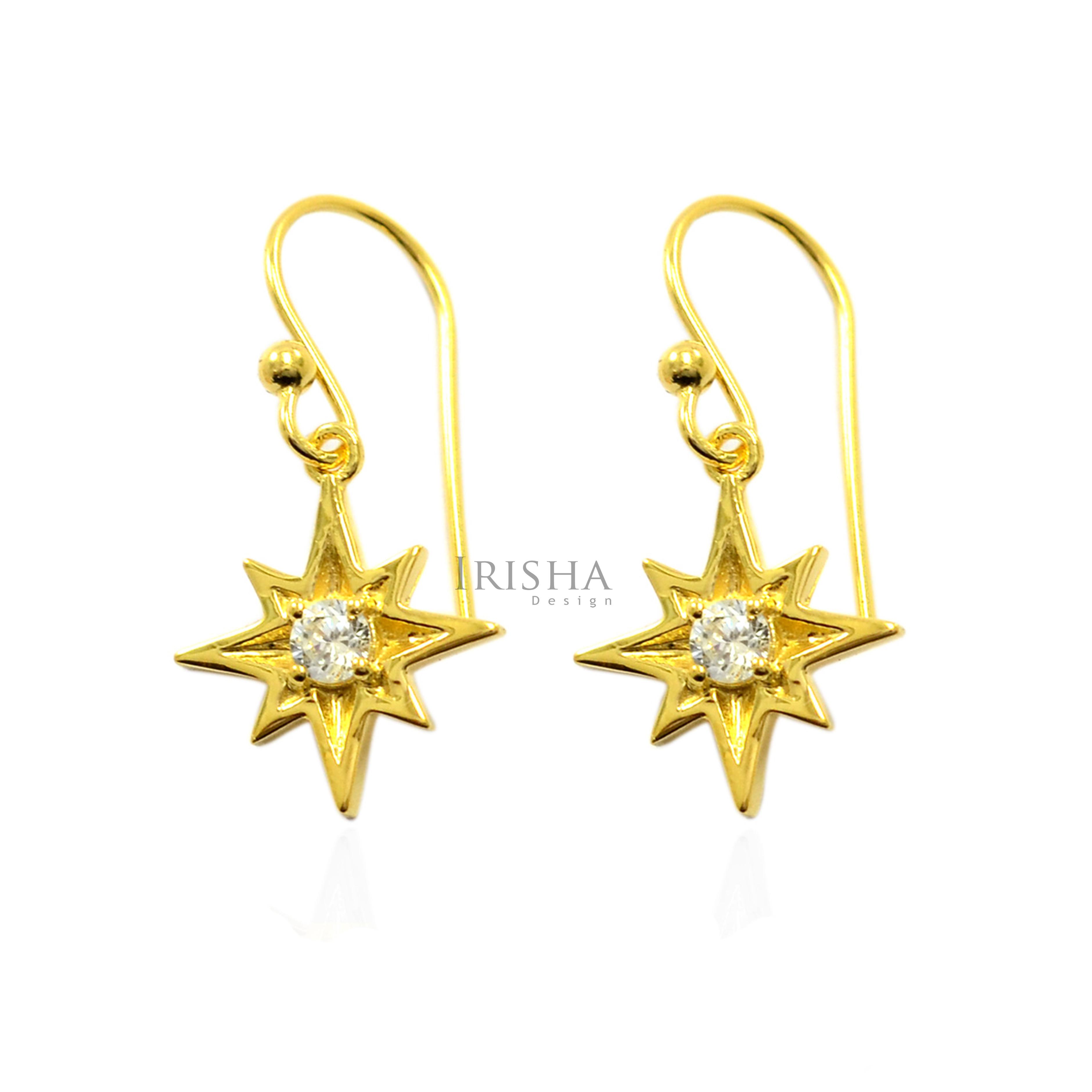14K Gold 0.15 Ct. Genuine Diamond Starburst Hook Earrings Christmas Fine Jewelry