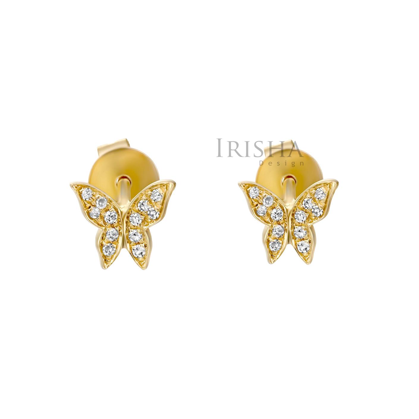 14K Gold 0.15 Ct. Genuine Diamond Tiny Butterfly Stud Earrings Fine Jewelry