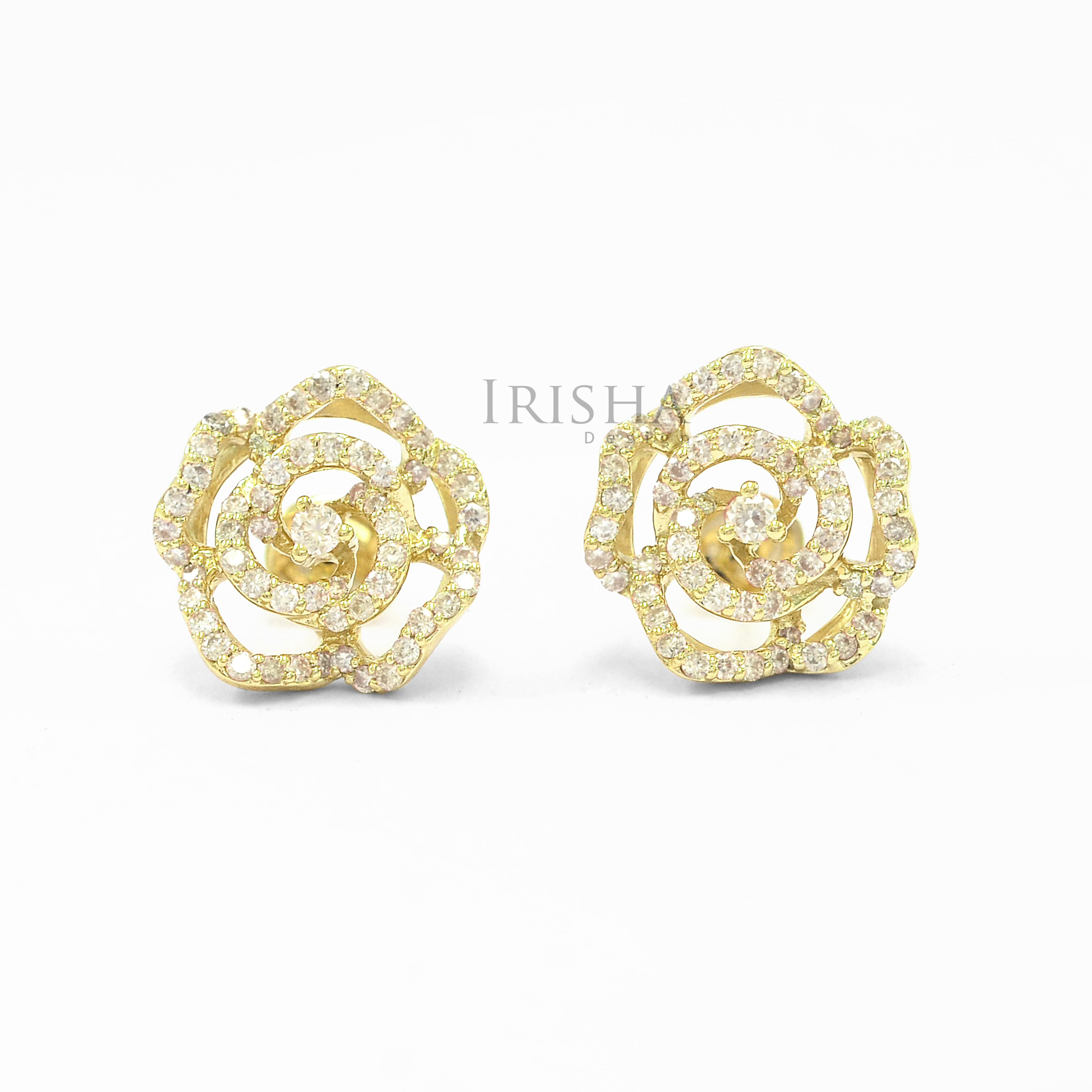 18K Gold 0.87 Ct. Genuine Diamond Flower Earrings Fine Jewelry-New Arrival