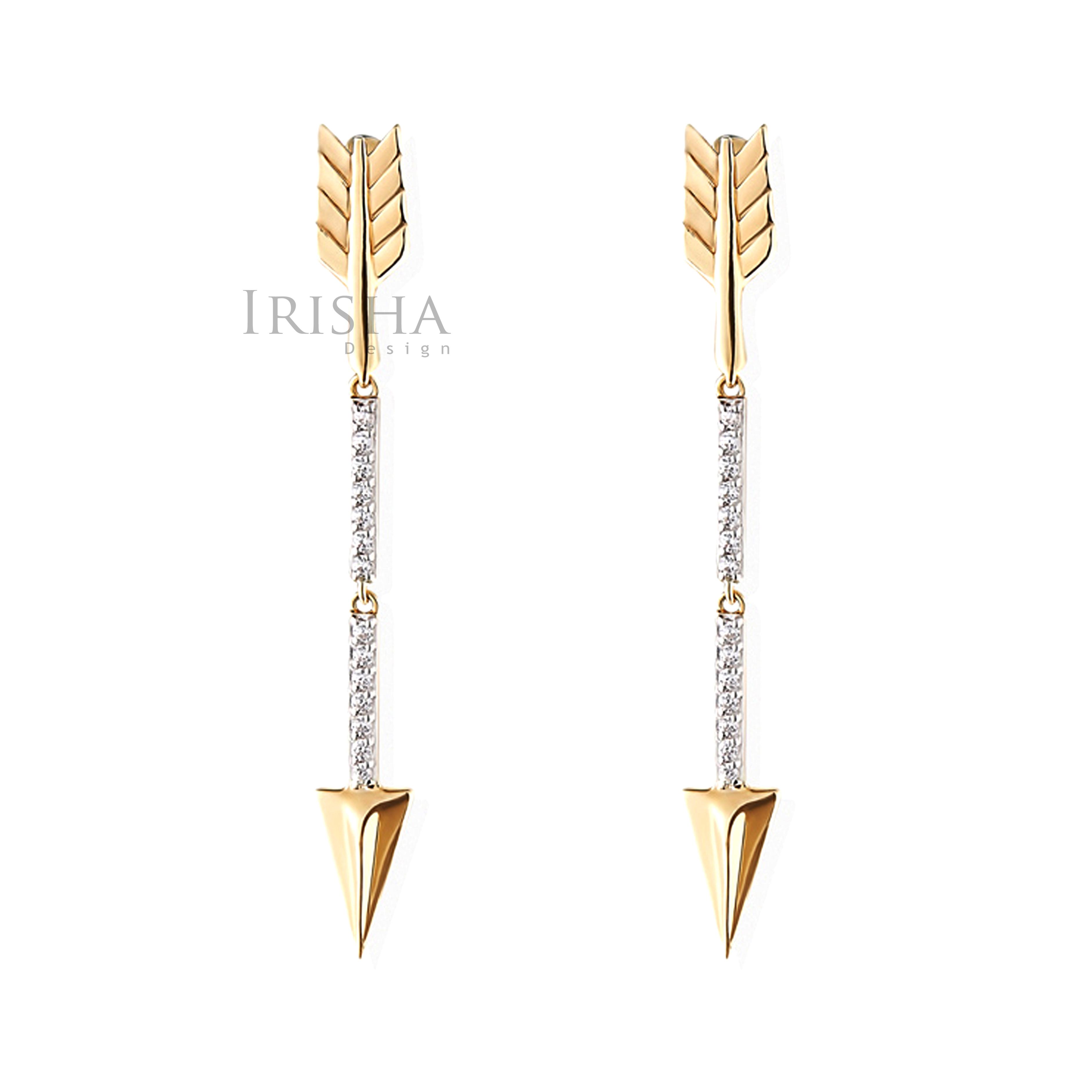 14K Gold 0.18 Ct. Genuine Diamond 40 mm Long Arrow Drop Earrings Fine Jewelry