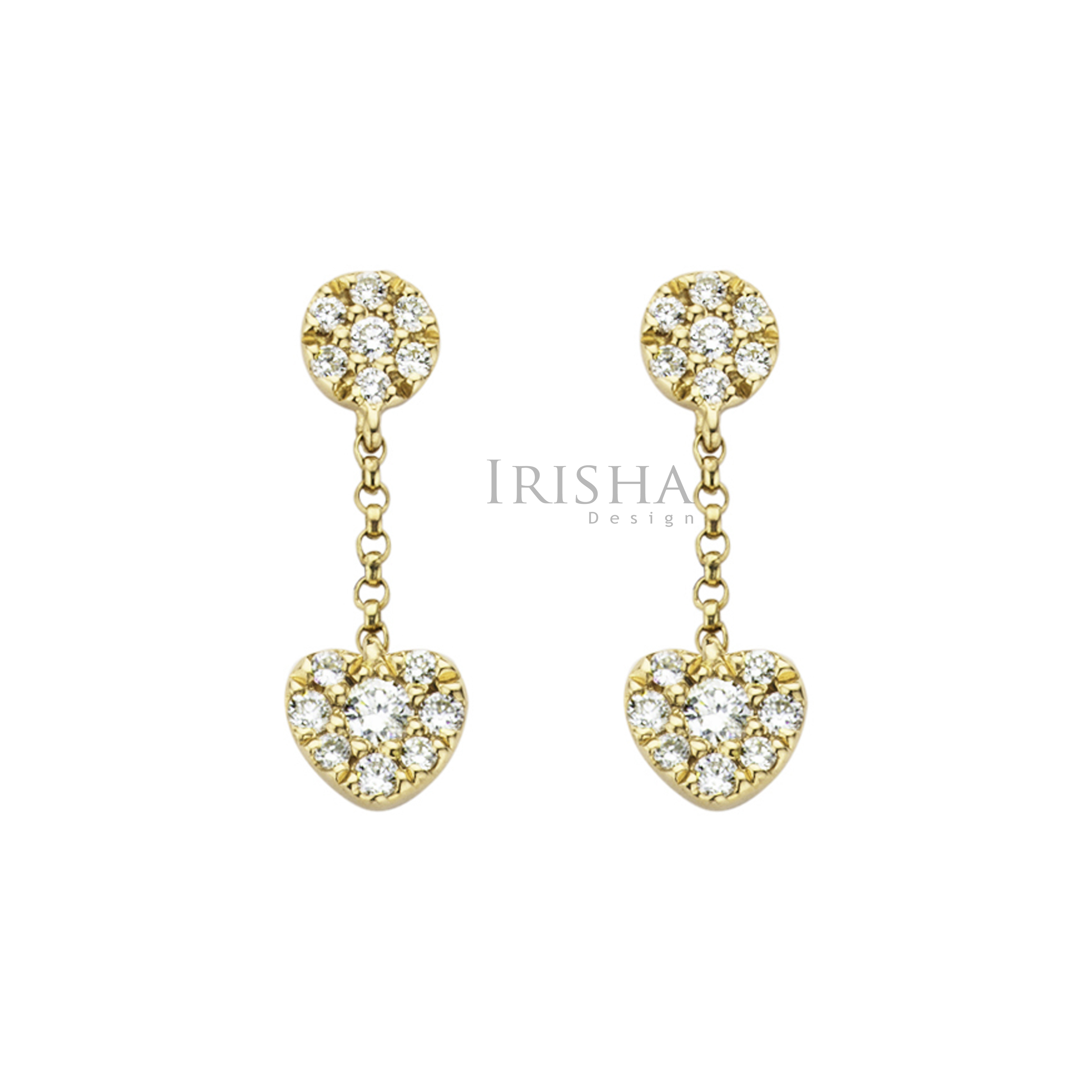14K Gold 0.62 Ct. Genuine Diamond Heart Drop Chain Earrings Mother's Day Gift