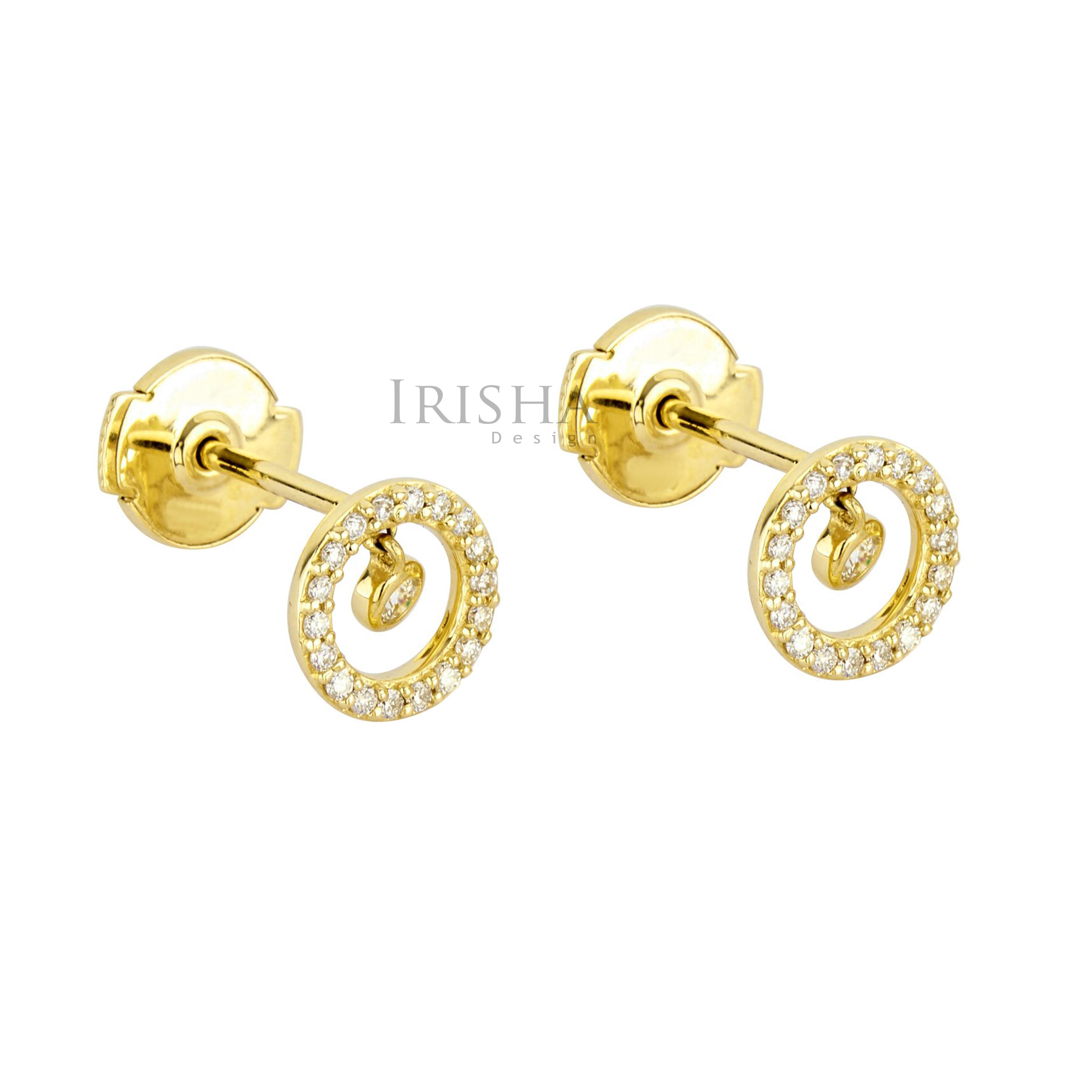 14K Gold 0.33 Ct. Genuine Diamond Round Circle Studs Earrings Fine Jewelry