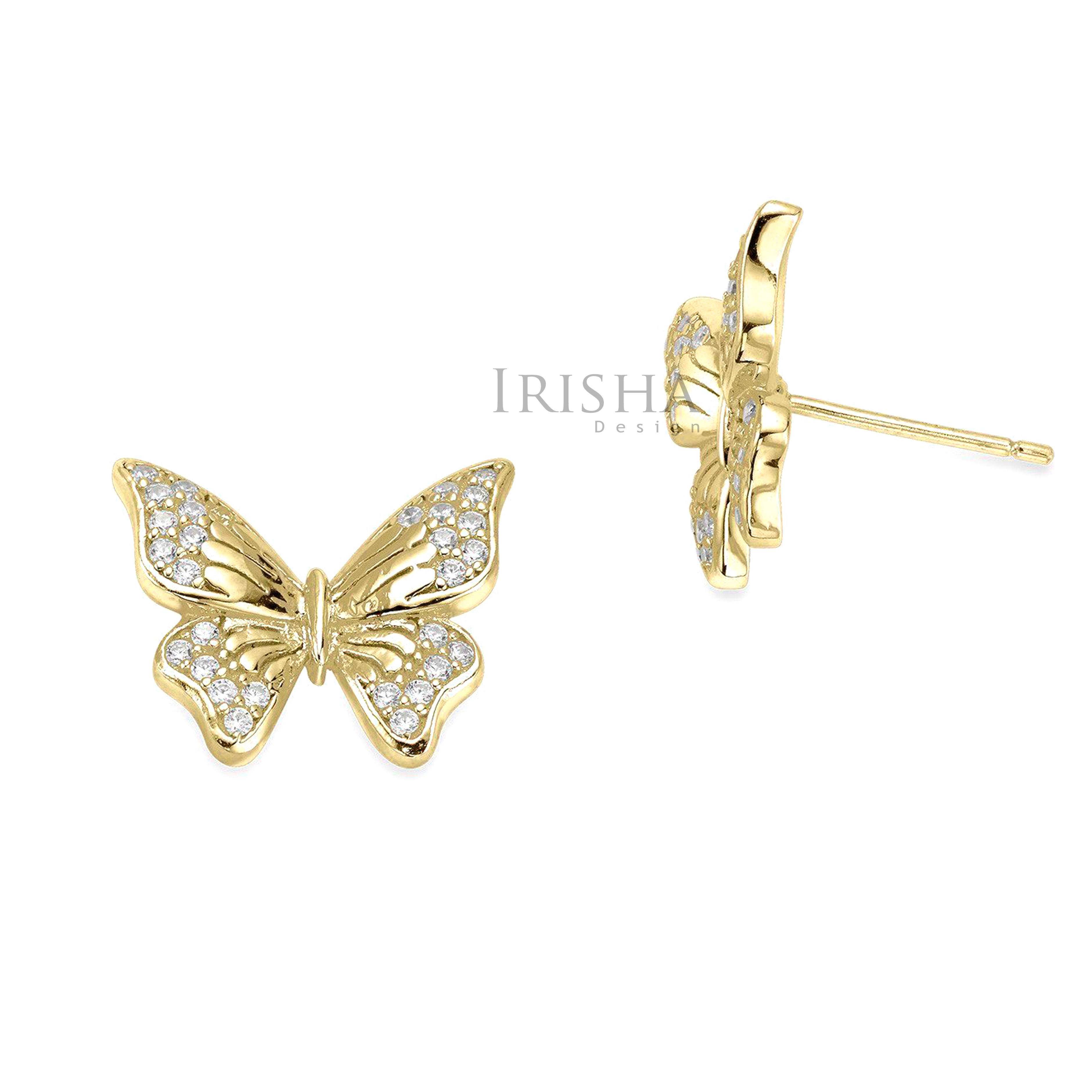 14K Gold 0.24 Ct. Genuine Diamond Butterfly Studs Earrings Fine Jewelry