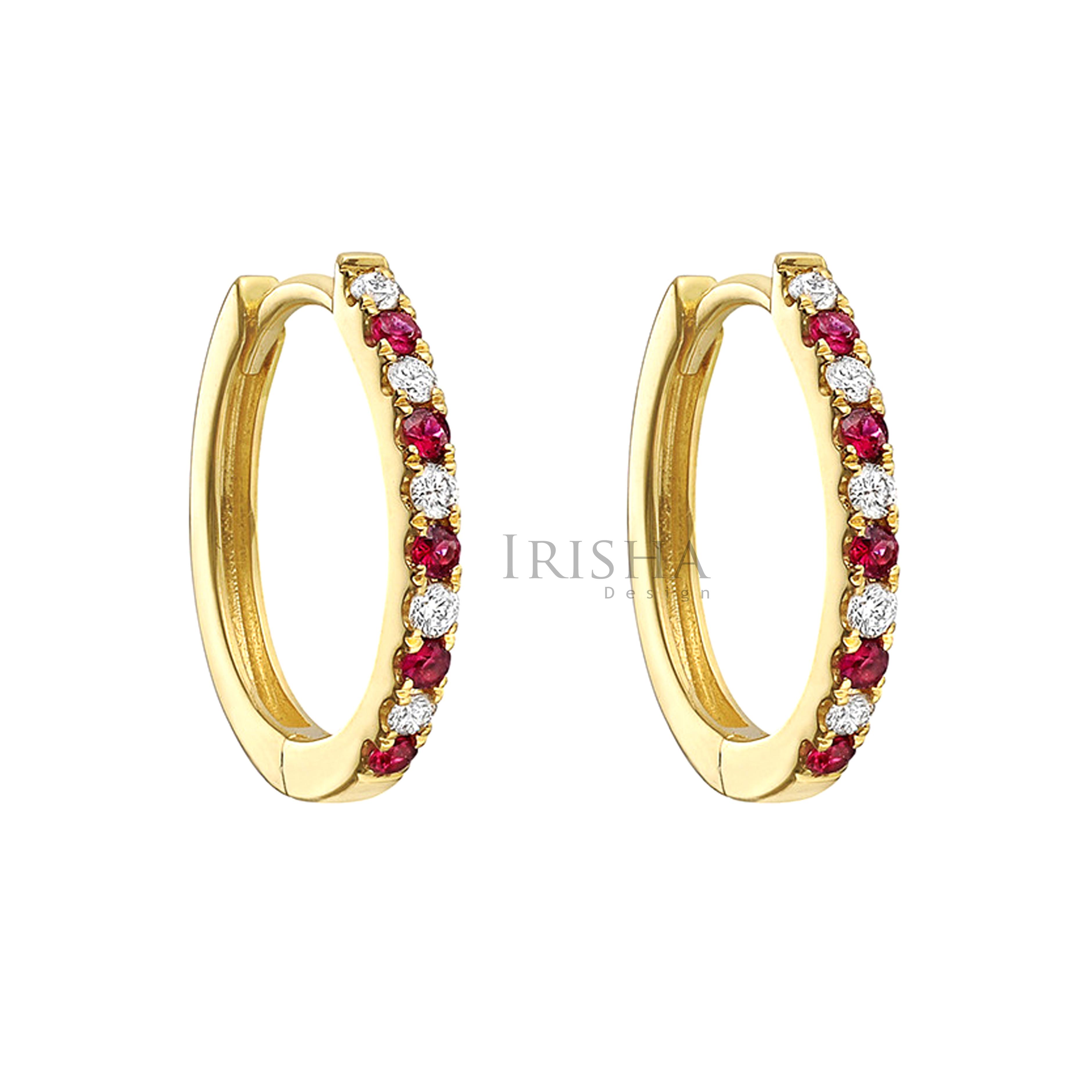 14K Gold Genuine Diamond And Ruby Gemstone Hoop Earrings Fine Jewelry