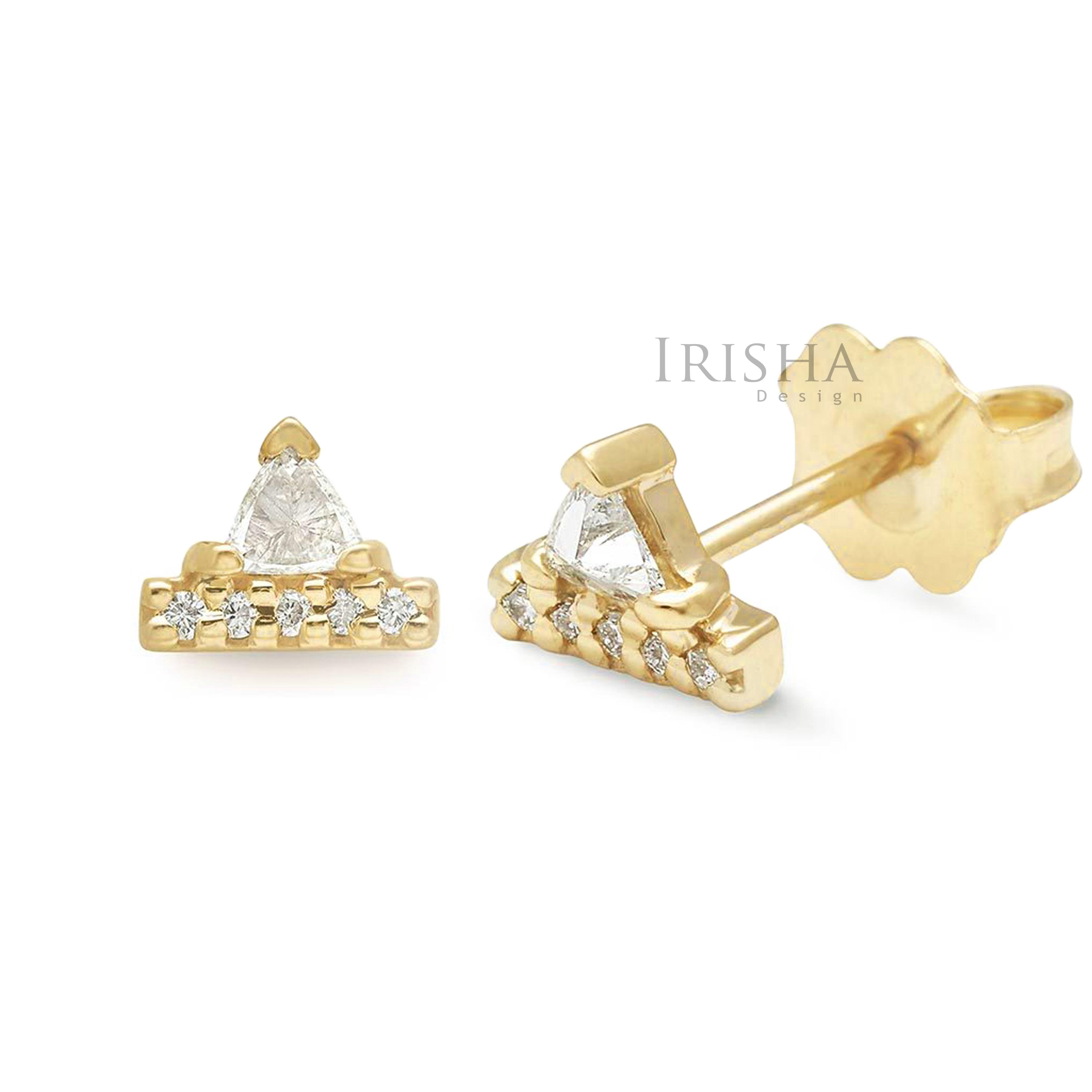 14K Gold 0.20 Ct. Genuine Round & Trillion Diamond Bar Stud Earring Fine Jewelry