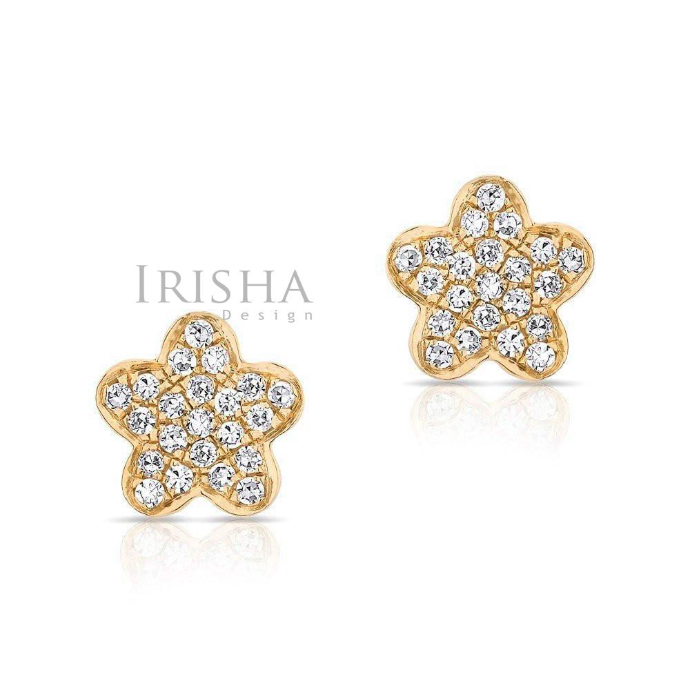 14K Gold 0.22 Ct. Genuine Pave Diamond 8 mm Flower Stud Earrings Fine Jewelry