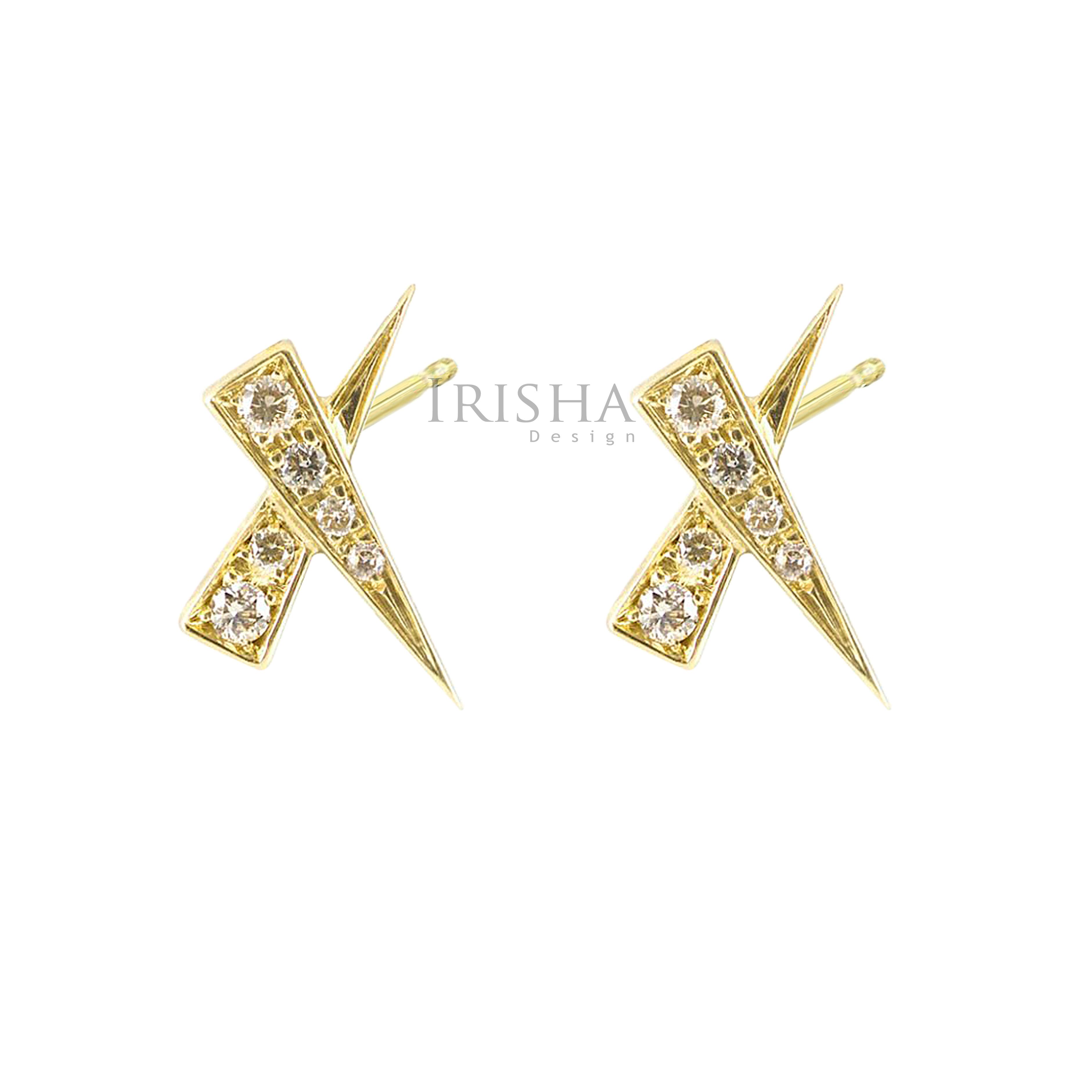 14K Gold 0.07 Ct. Genuine Diamond Kiss Studs Earrings Fine Jewelry - New Arrival