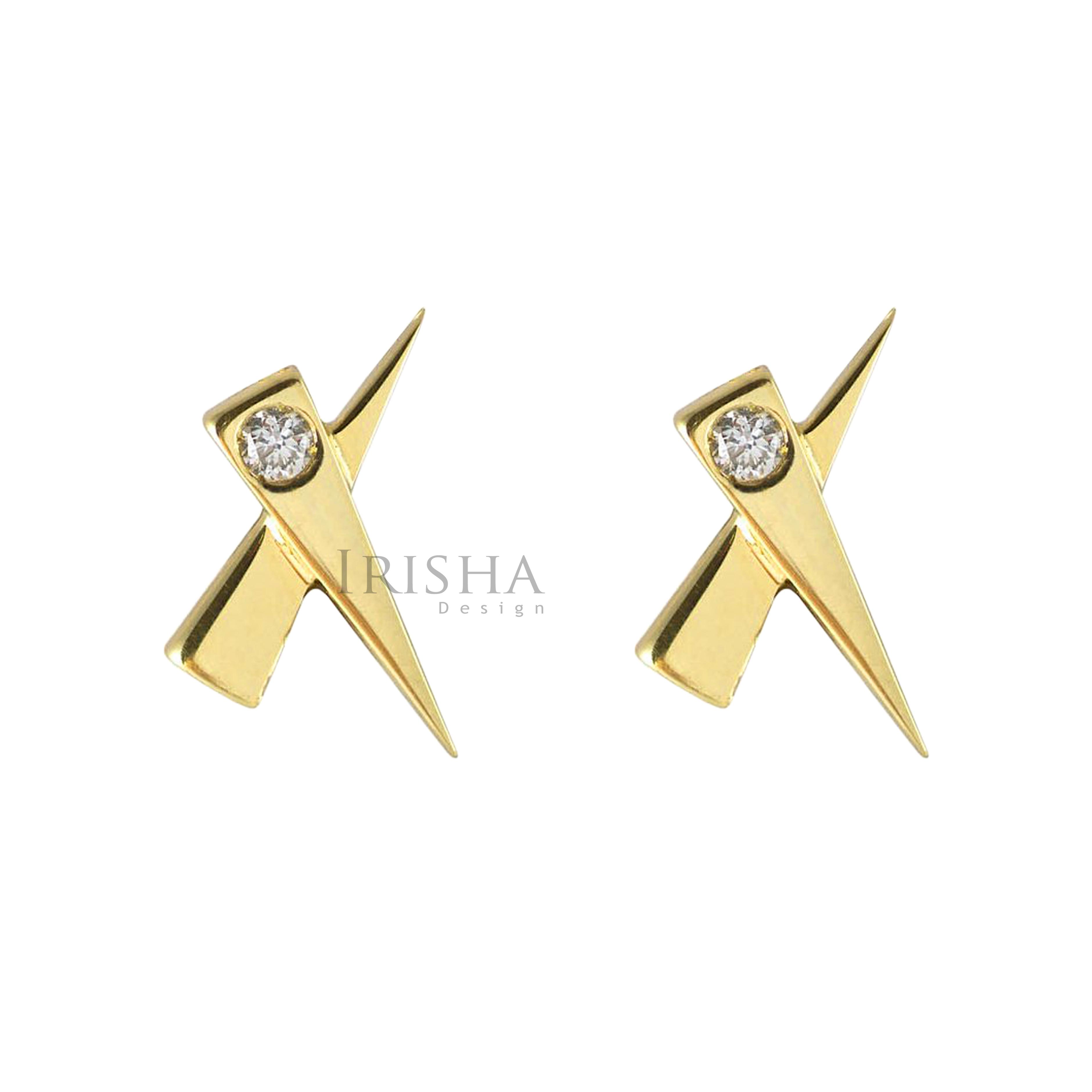14K Gold 0.04 Ct. Genuine Diamond Kiss Studs Earrings Fine Jewelry - New Arrival
