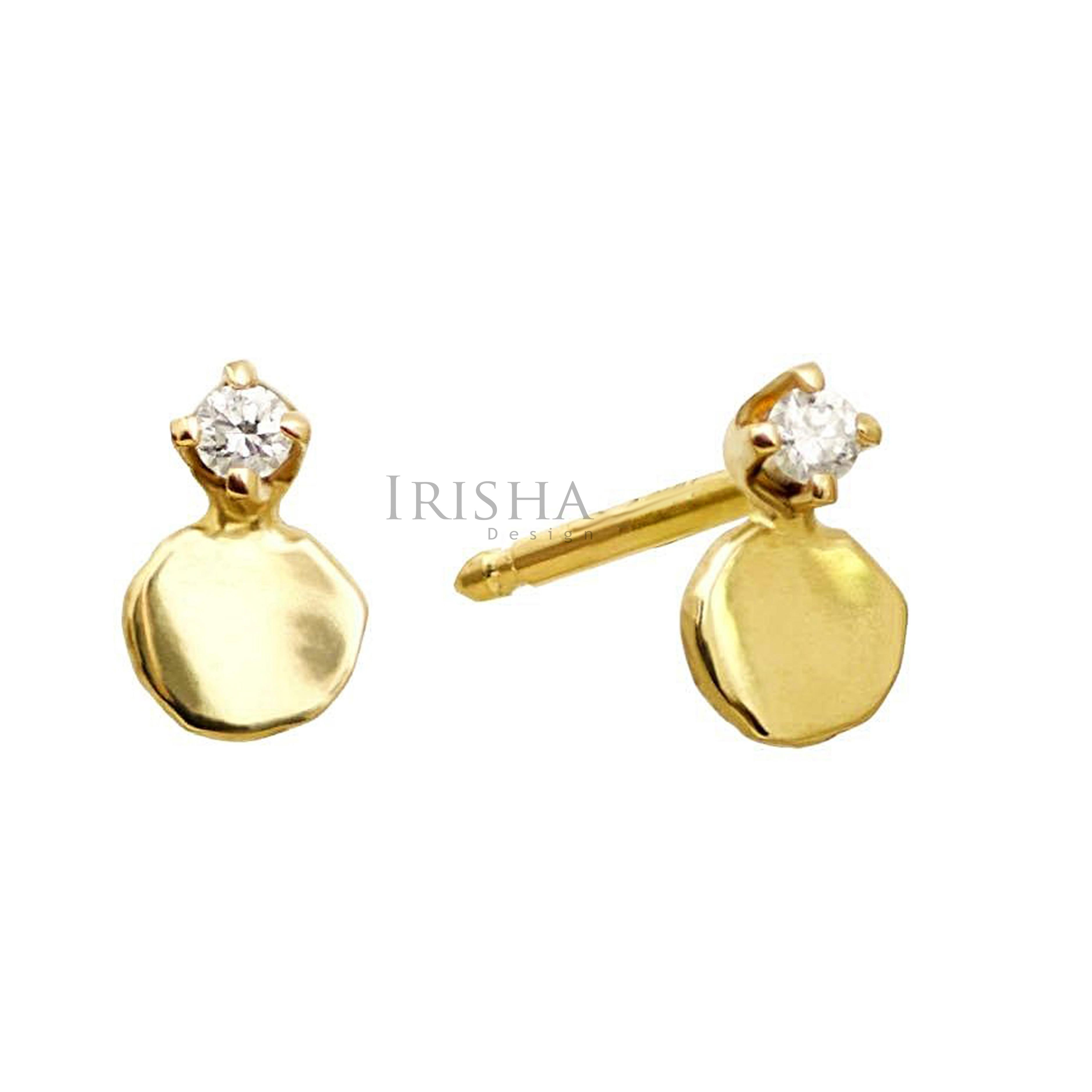 14K Gold 0.06 Ct. Genuine Diamond Small Disc Studs Earring Handmade Fine Jewelry