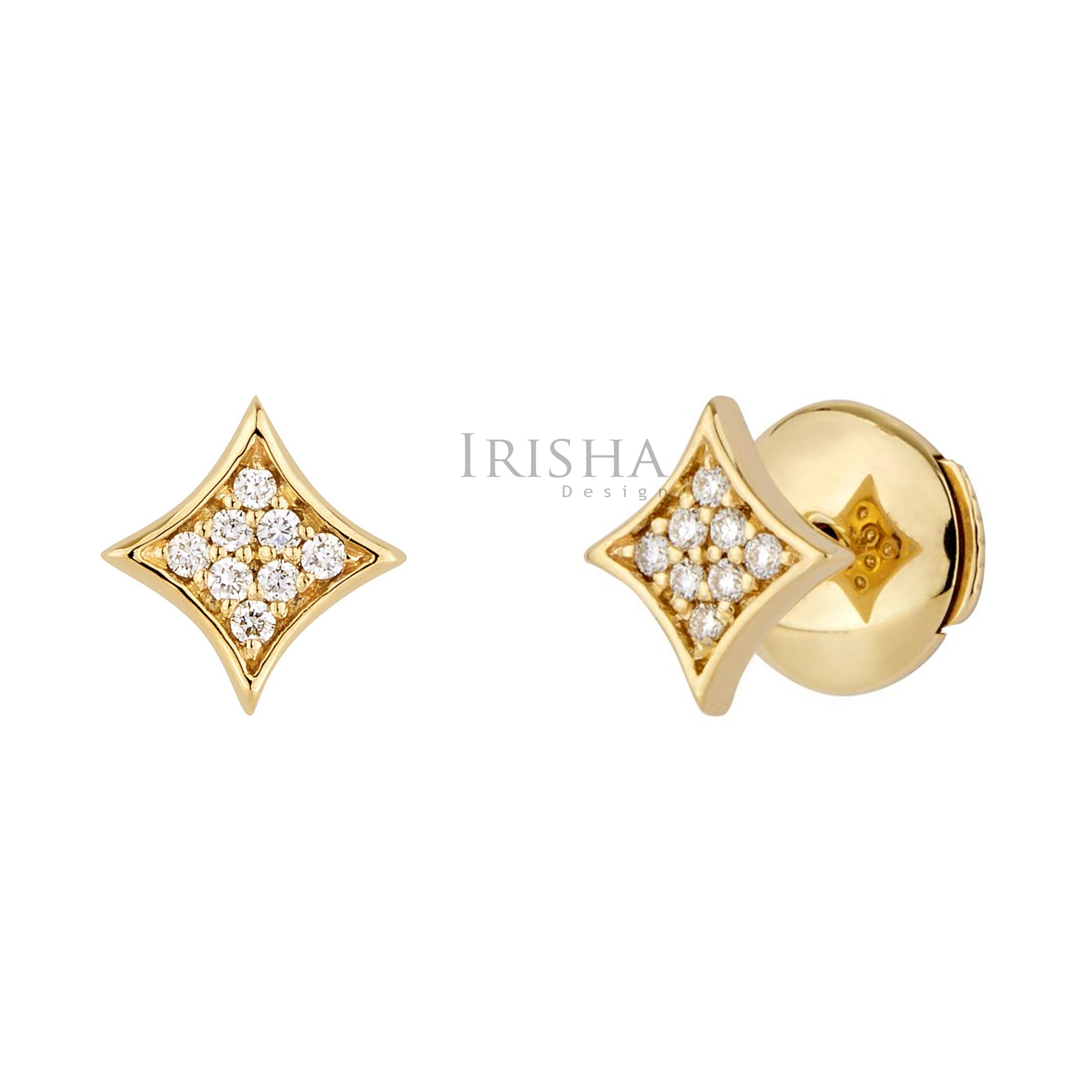 14K Gold 0.12 Ct. Genuine Diamond Rhombus Shape Tiny Studs Earrings Fine Jewelry