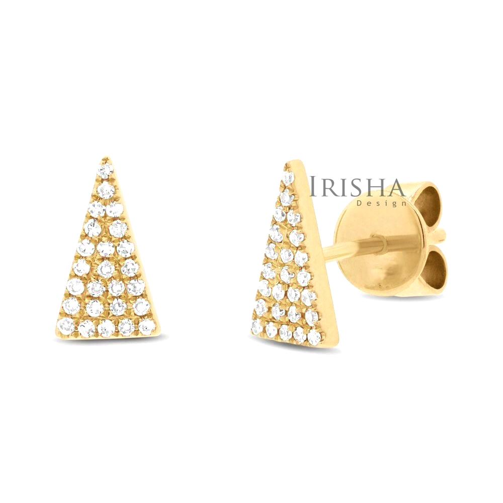 14K Gold 0.20 Ct. Genuine Diamond 6x11 mm Triangle Studs Earrings Fine Jewelry