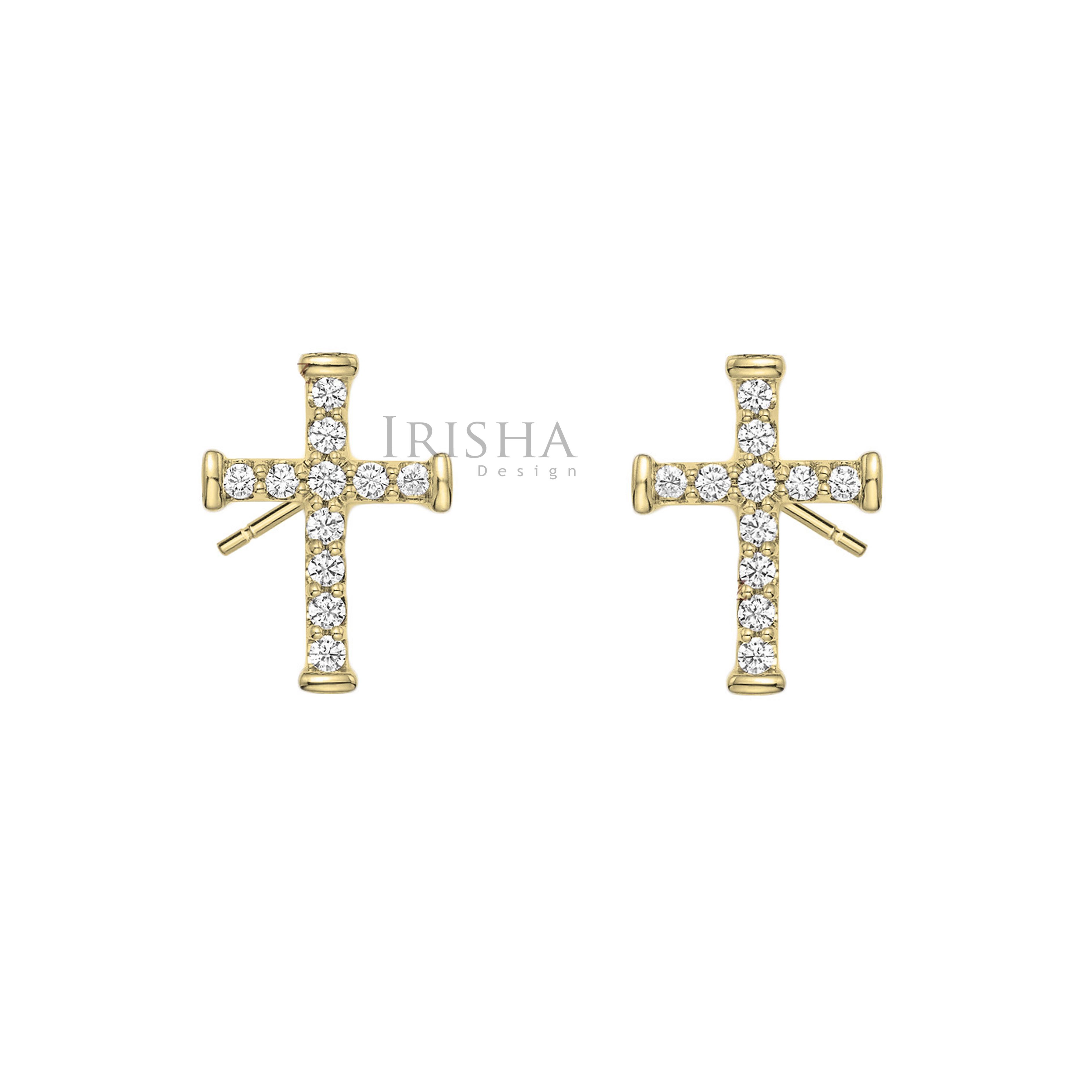 14K Gold 0.11 Ct. Genuine Diamond Crucifix Cross Earrings Christmas Fine Jewelry