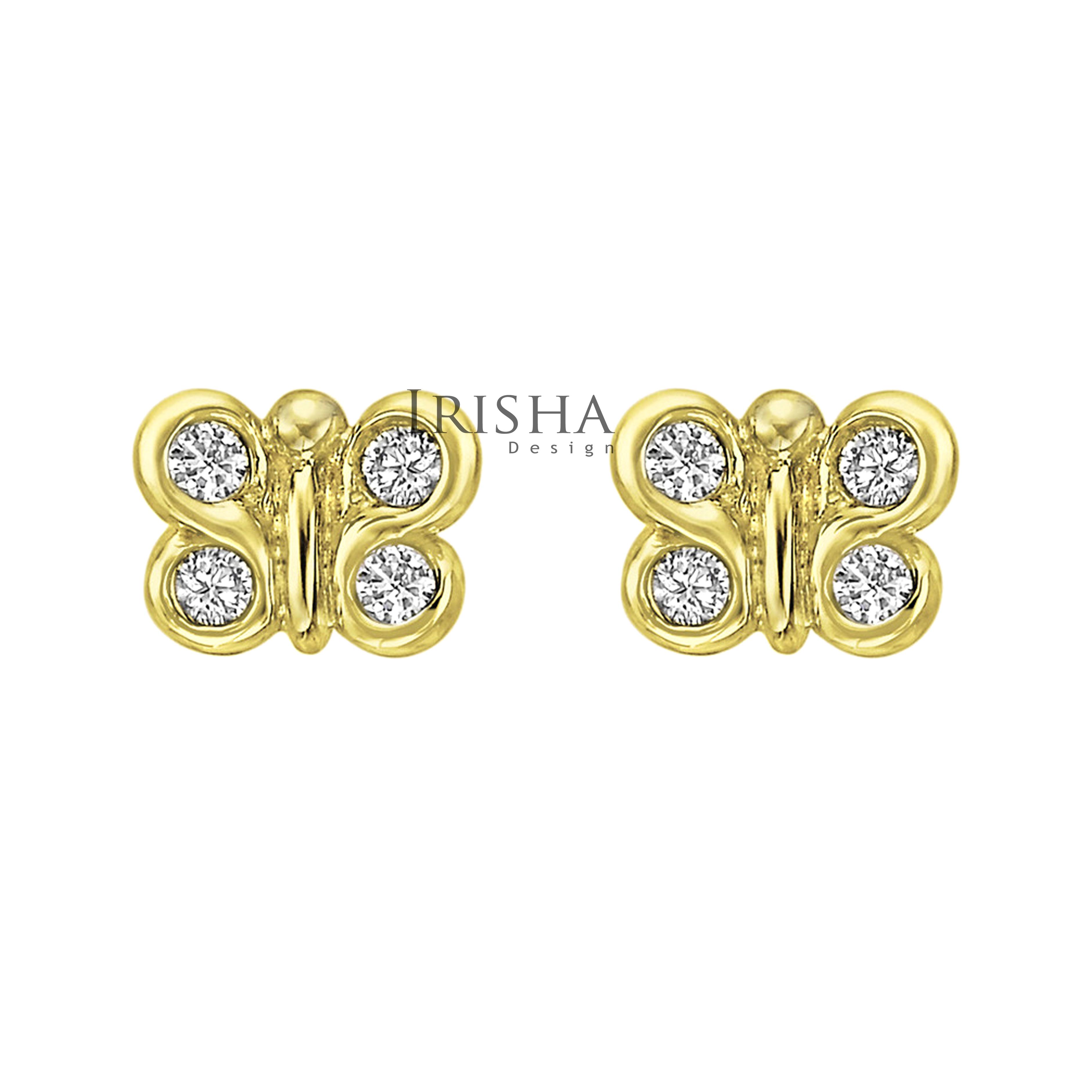 14K Gold 0.24 Ct. Genuine Diamond Special Butterfly Studs Earrings Fine Jewelry