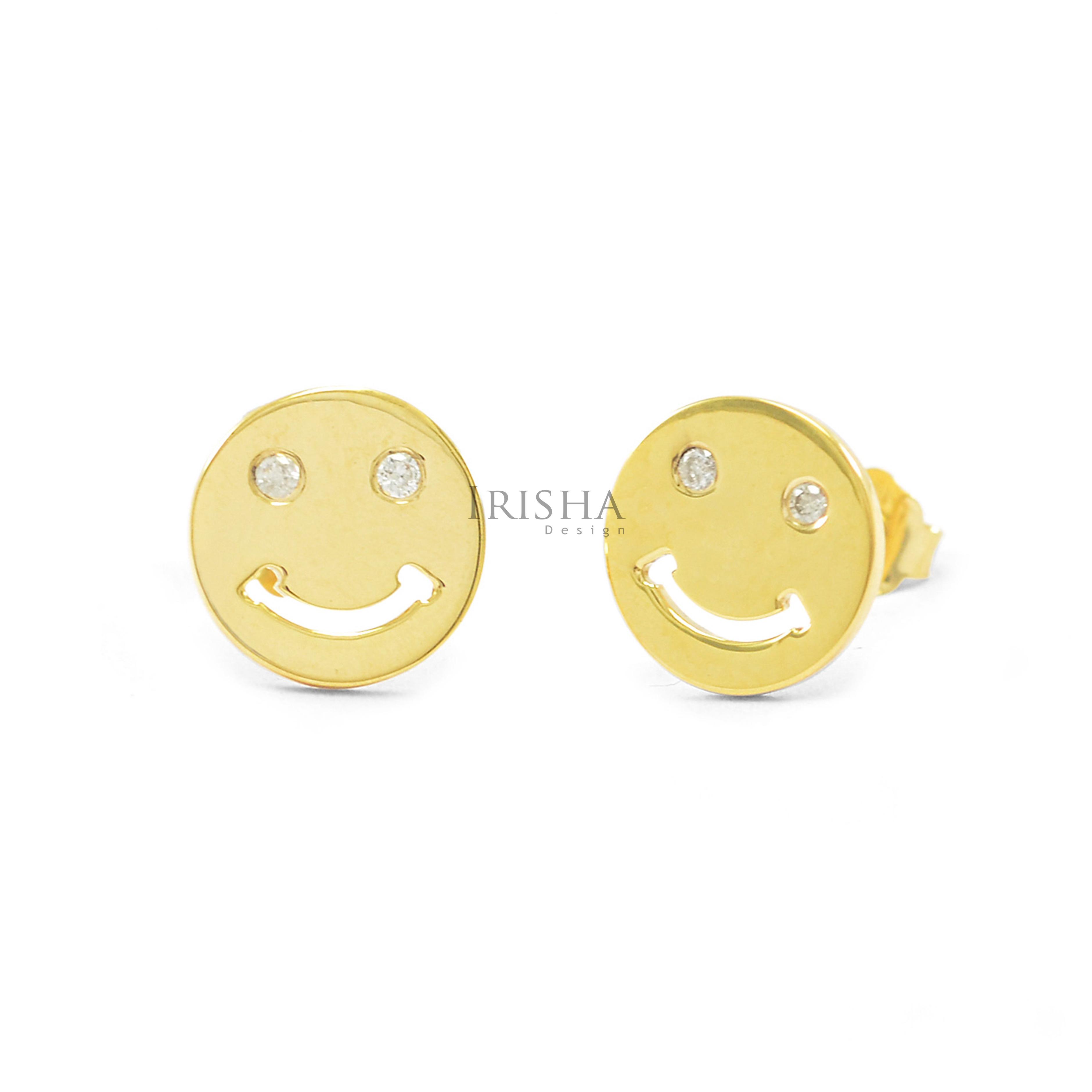 14K Gold 0.04 Ct. Genuine Diamond 8 mm Smiley Emoji Earrings Fine Jewelry