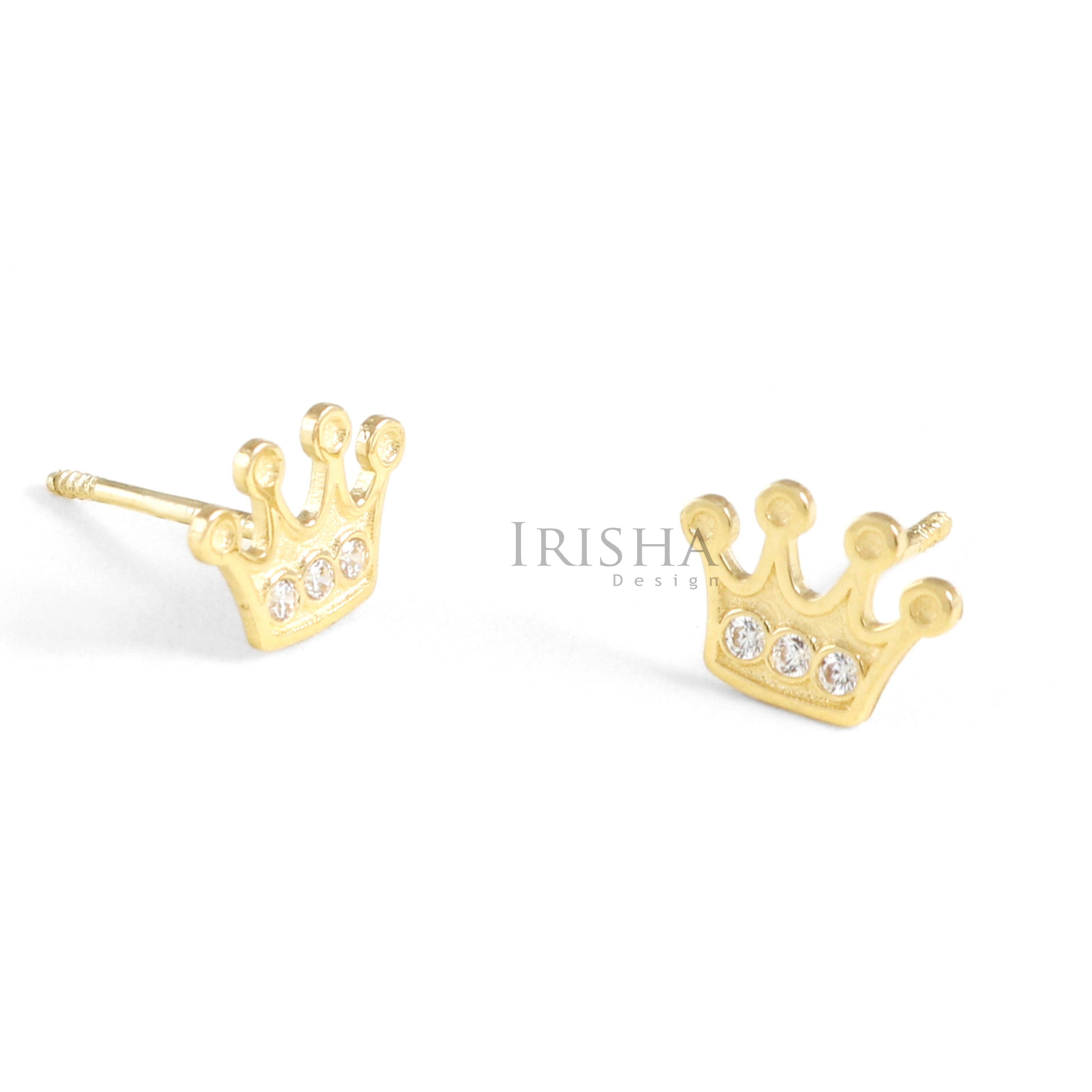14K Gold 0.06 Ct. Genuine Diamond Crown Studs Earring Fine Jewelry-New Arrival