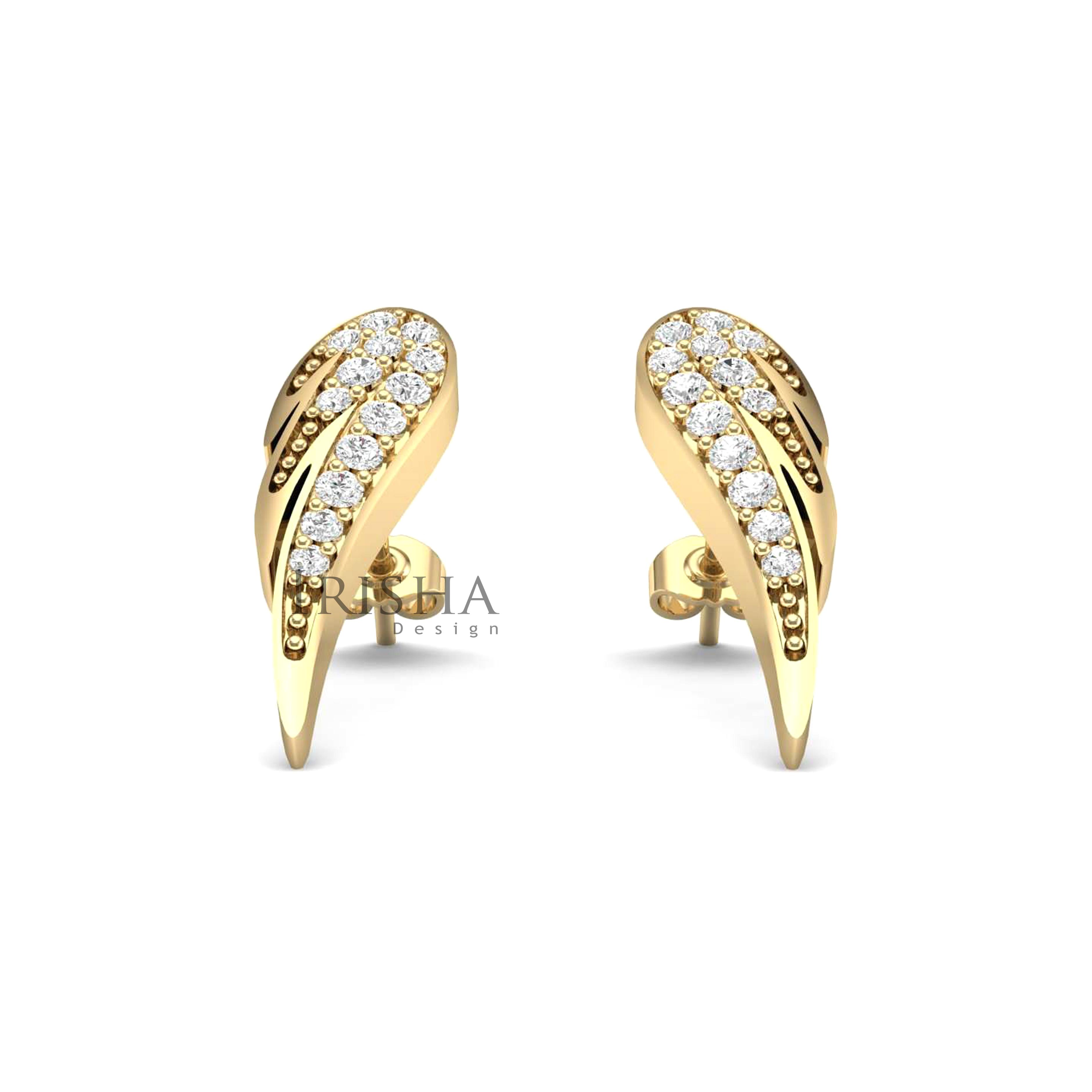 14K Gold 0.18 Ct. Genuine Diamond Angel's Wing Studs Earrings Fine Jewelry