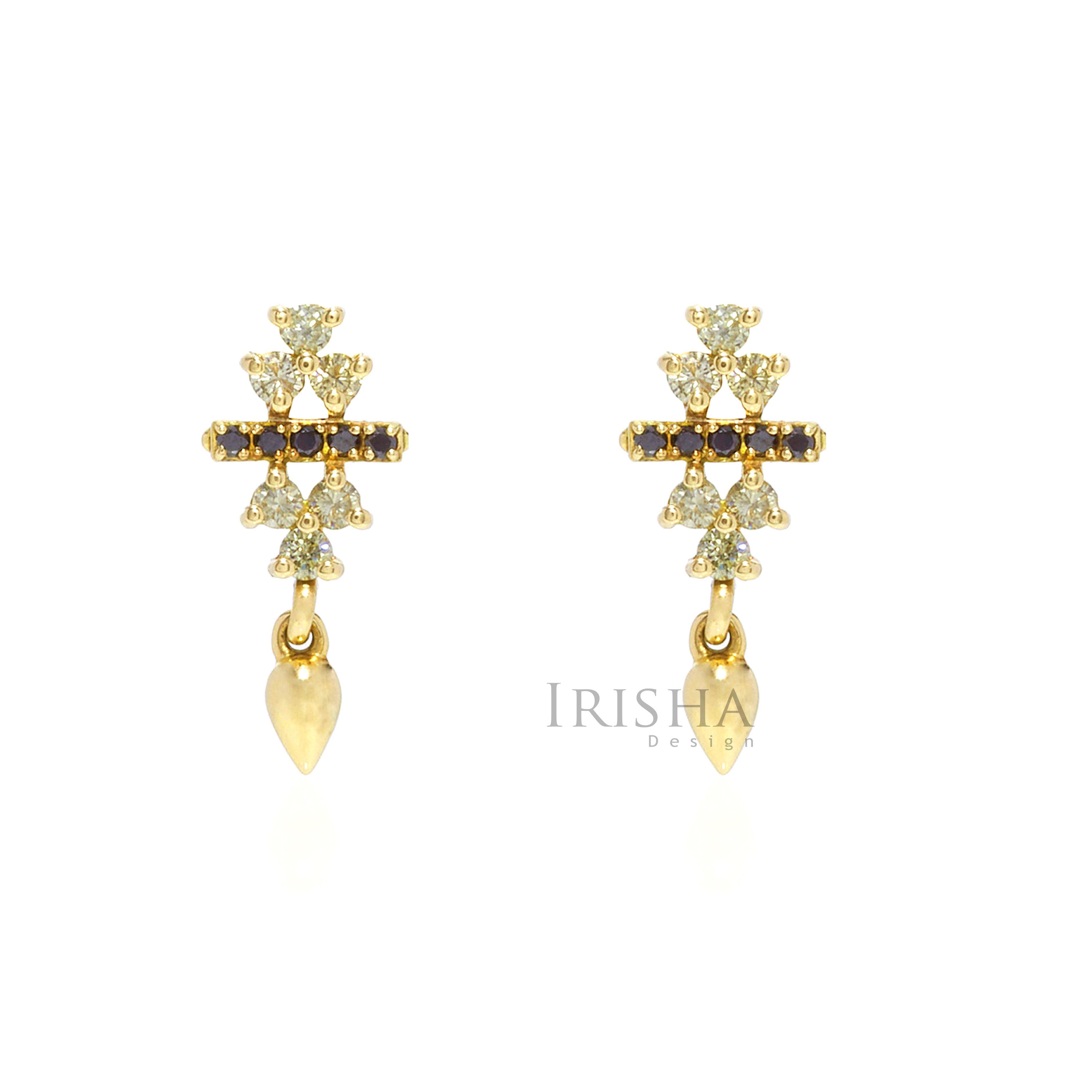14K Gold 0.48 Ct. Genuine White & Black Diamonds Bar Cluster Fine Earrings