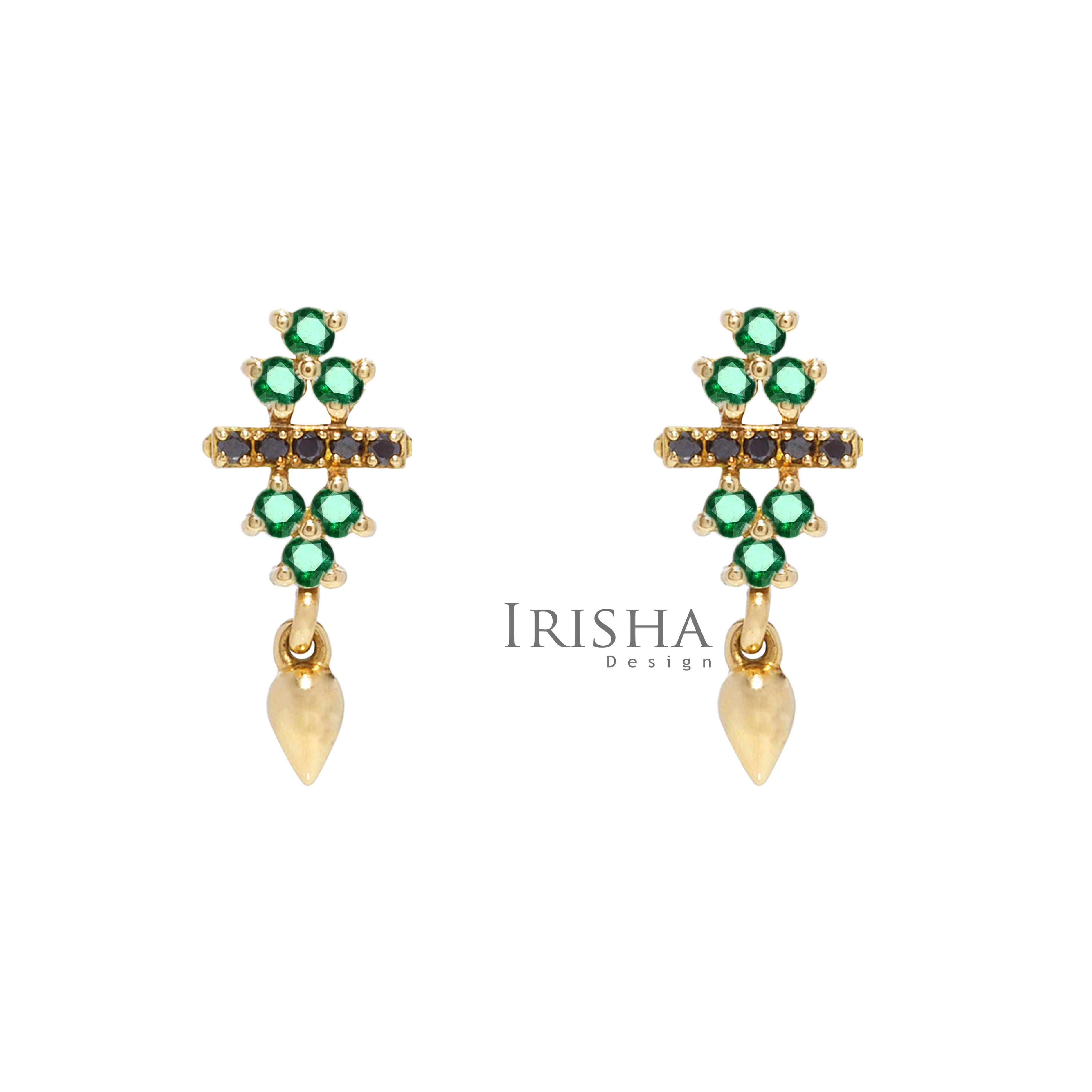14K Gold Genuine Emerald And Black Diamonds Bar Cluster Earrings Fine Jewelry